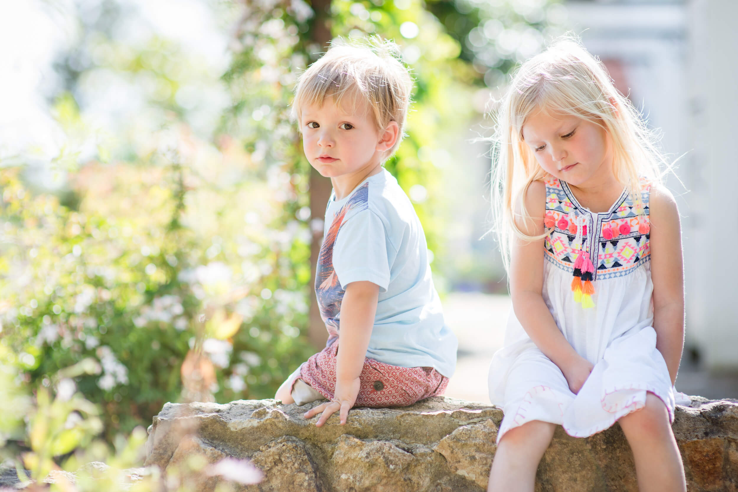 brother sister garden summer flowers kids session
