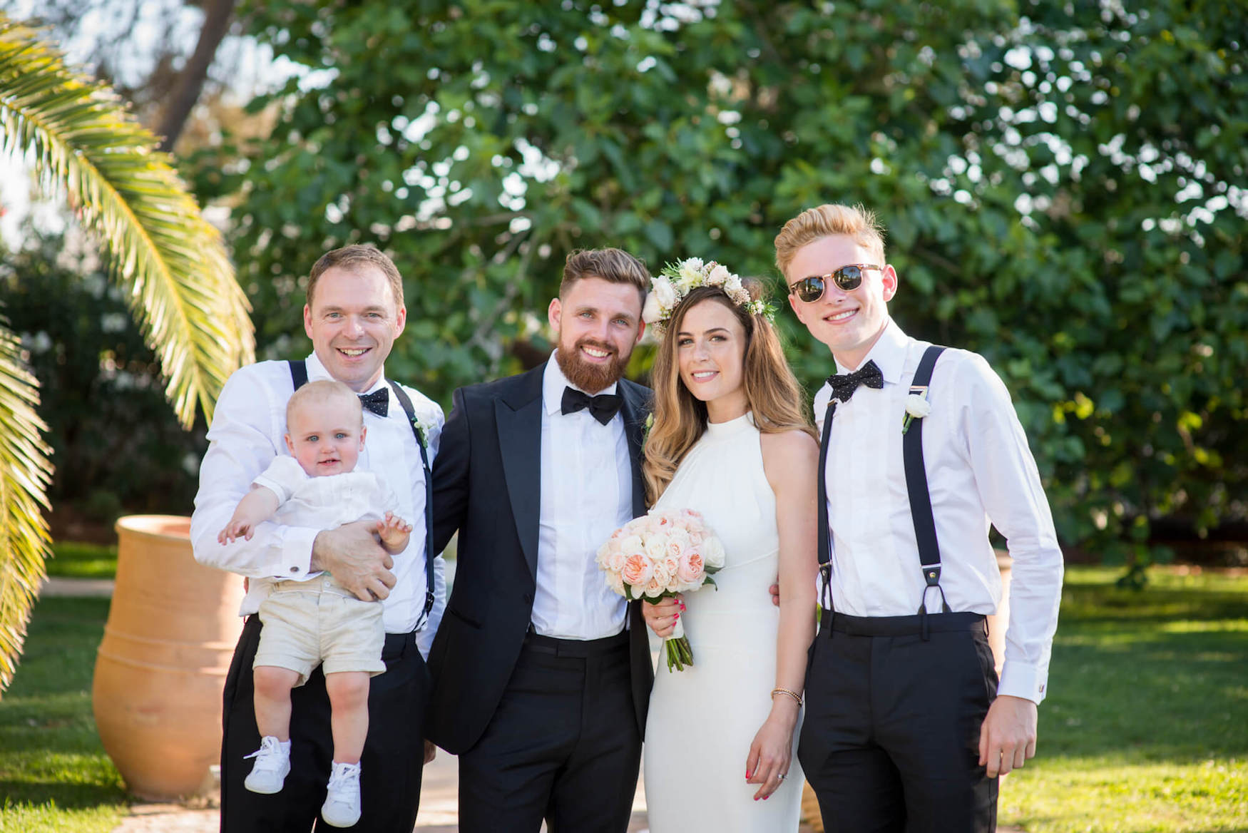 family portrait groom bride black tie