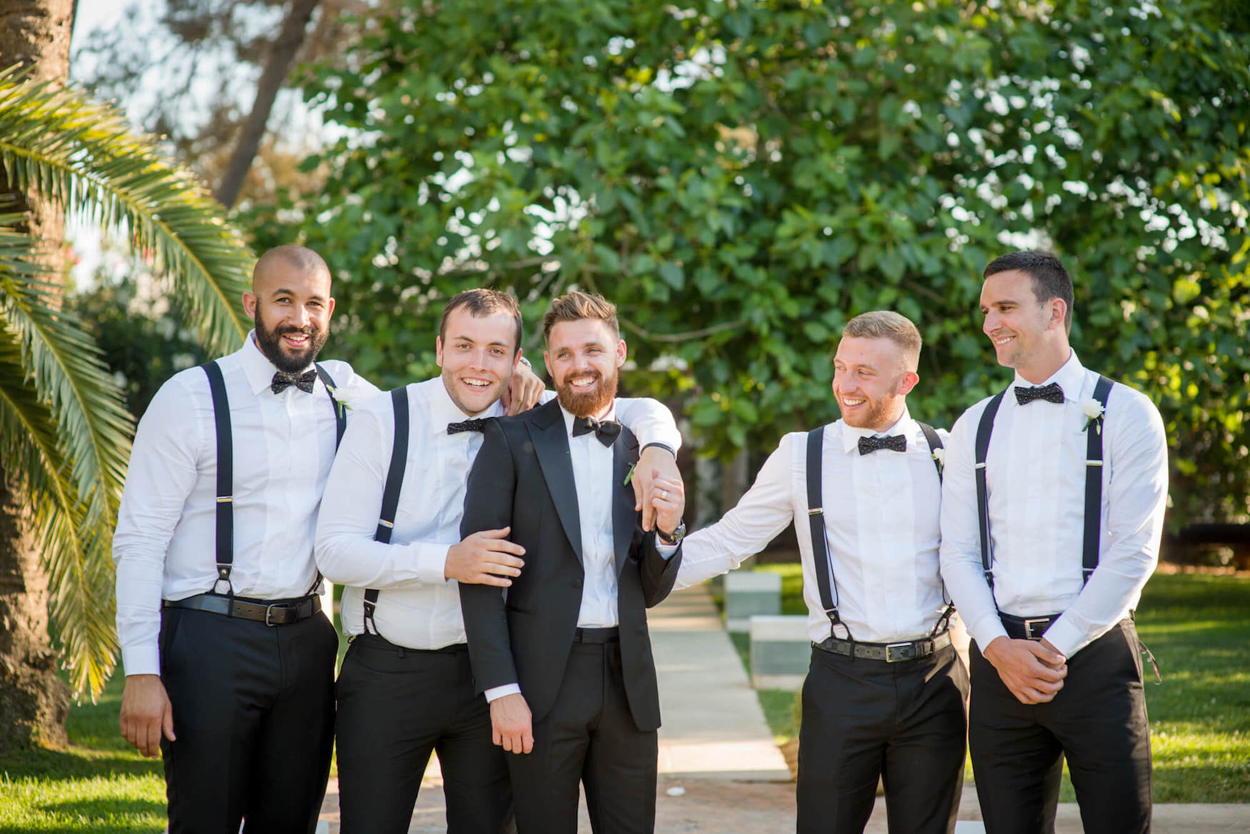 groom groomsmen formal photo black tie