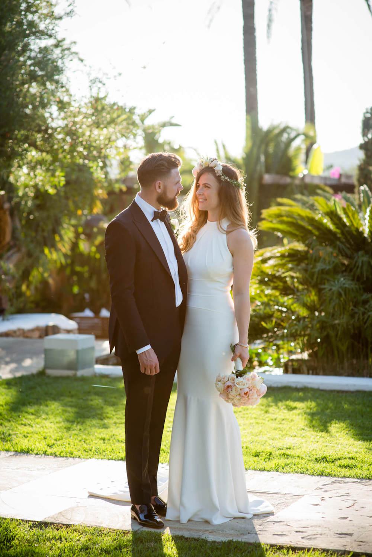 bride groom sunset session black tie flower arch jenny packham bridal