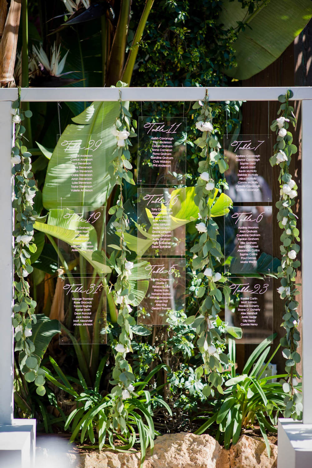 table plan hanging perpex green vines