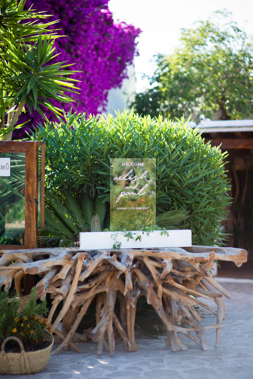 perspex wedding welcome sign bougainvillea
