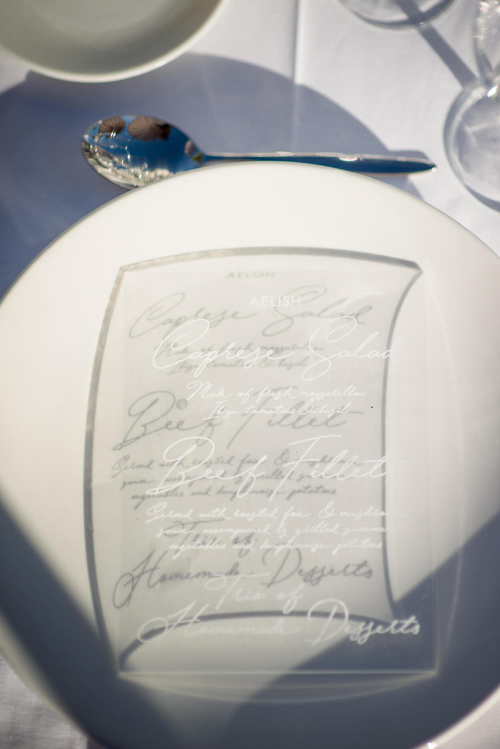wedding perspex menu place
