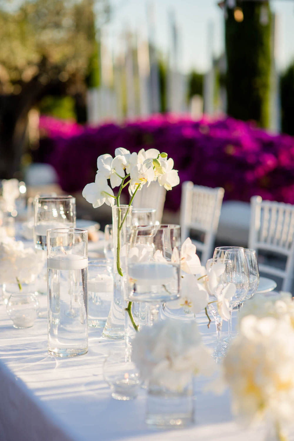 orchid table centers candle light sunset