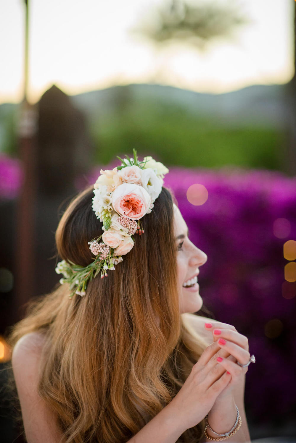 flower crown bride bougainvillea flowers