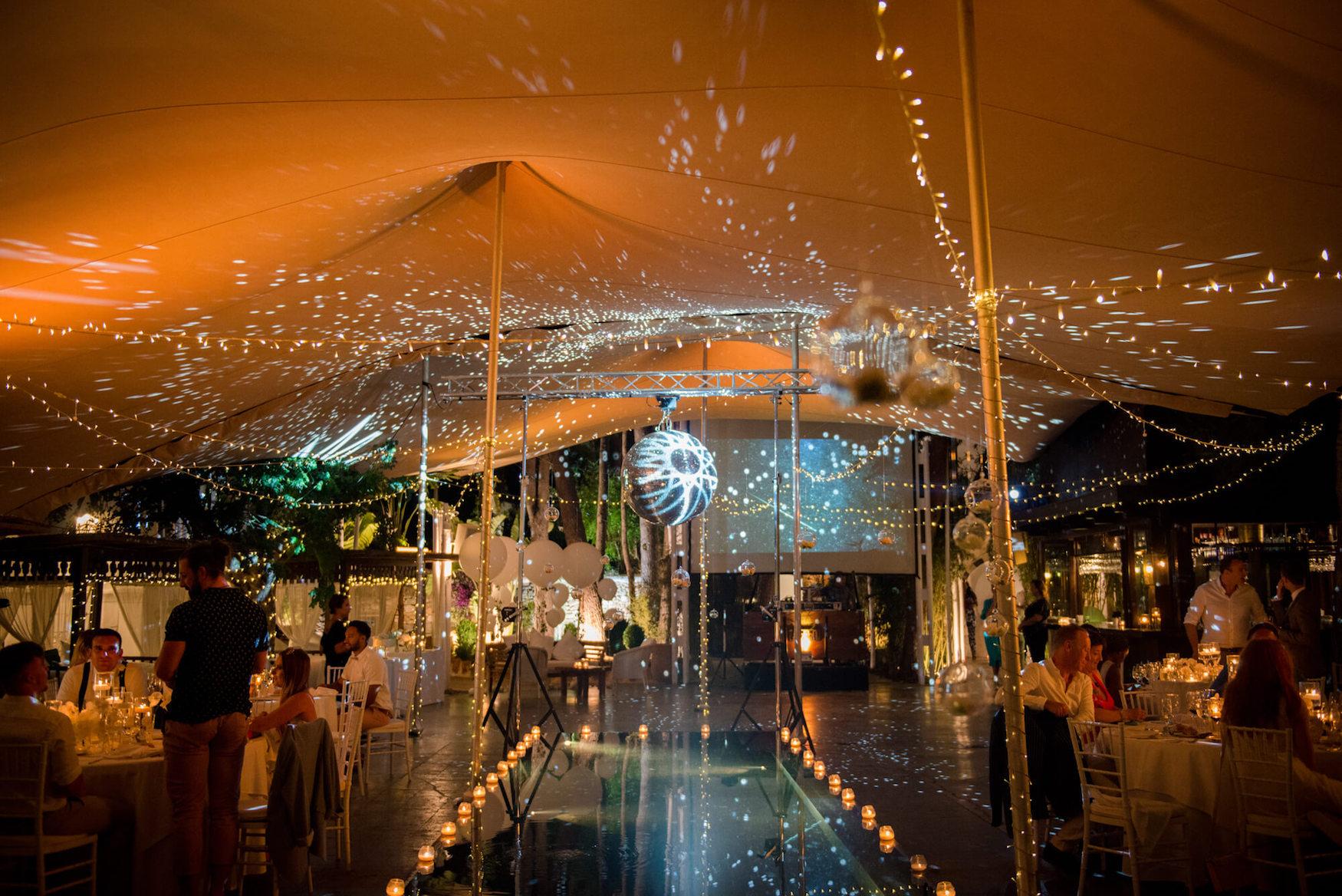 disco ball fairy lights dance floor