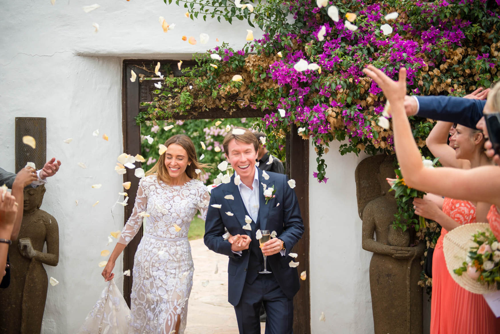 bride groom entrance confetti moment petal