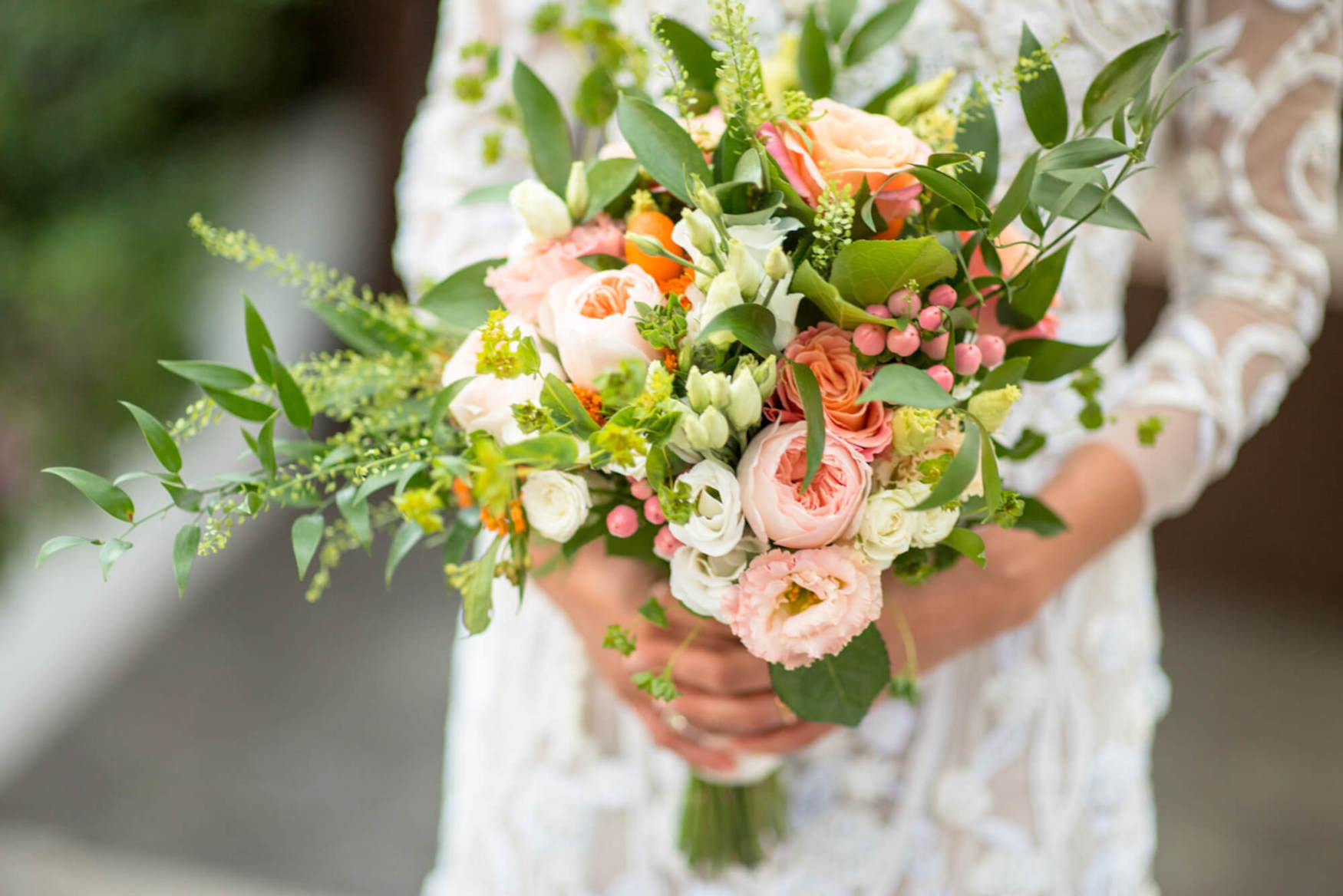 wedding flowers bouquet pastel colours greens