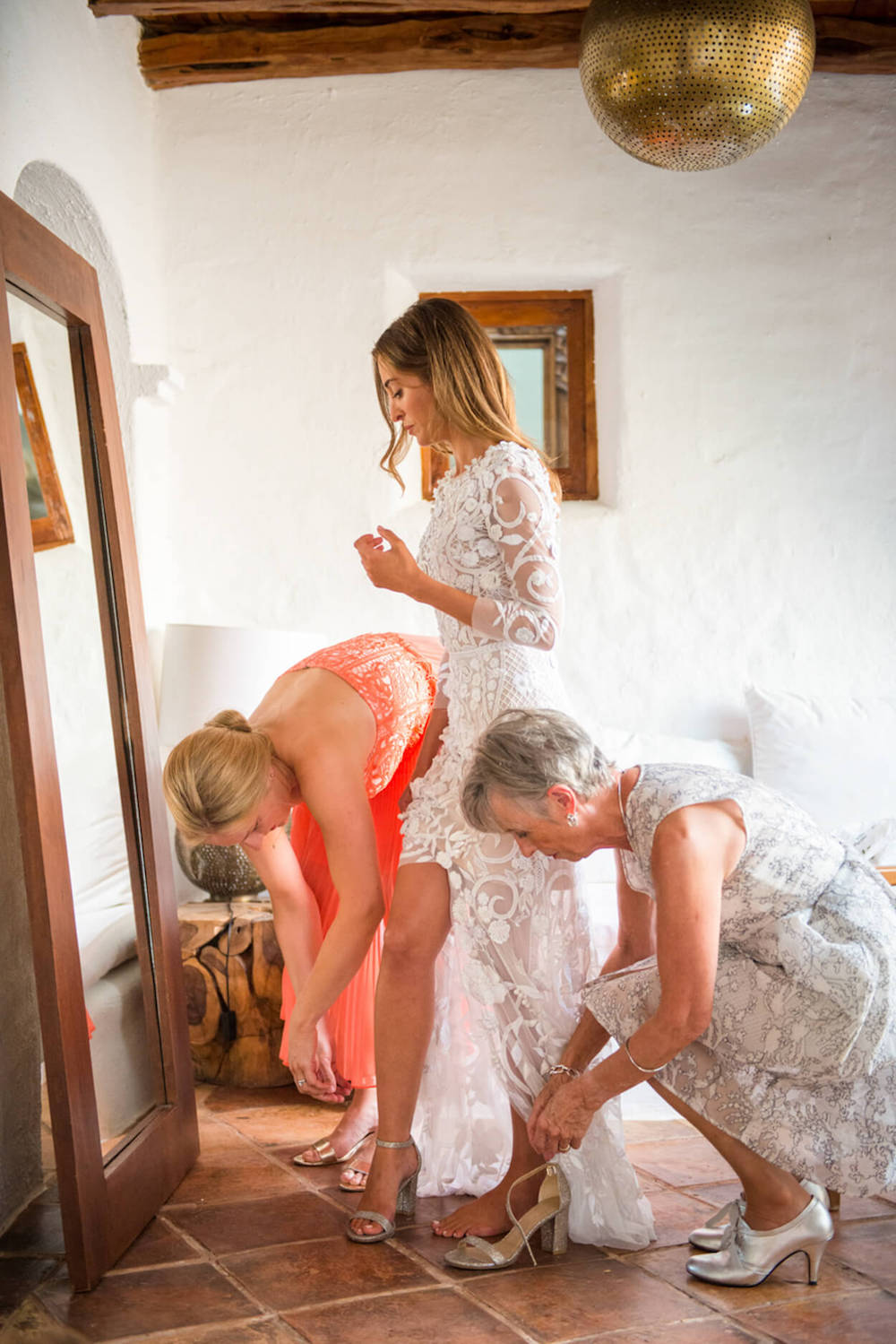 getting ready bride mother of bride hermoine de paula wedding dress
