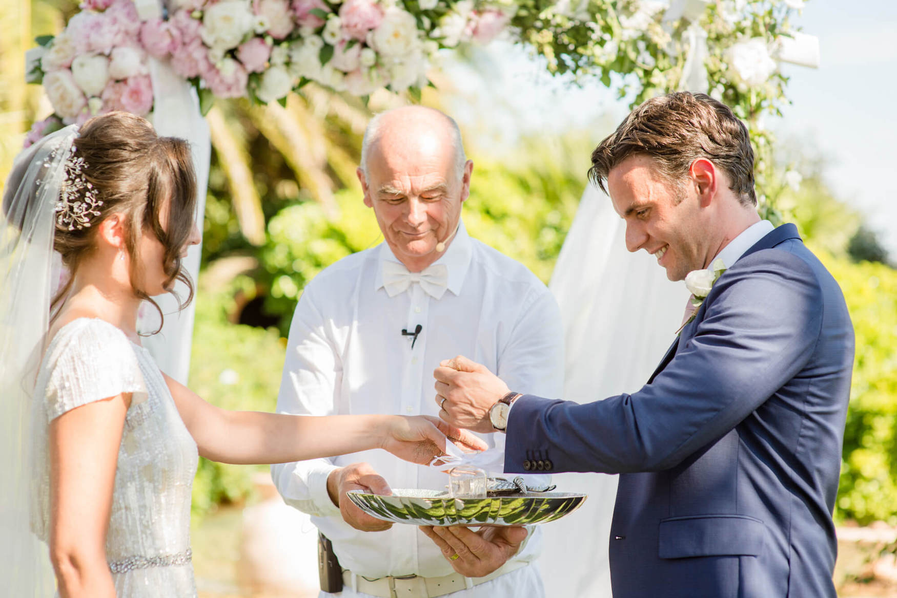 bride groom sand garden wedding ceremony palm trees