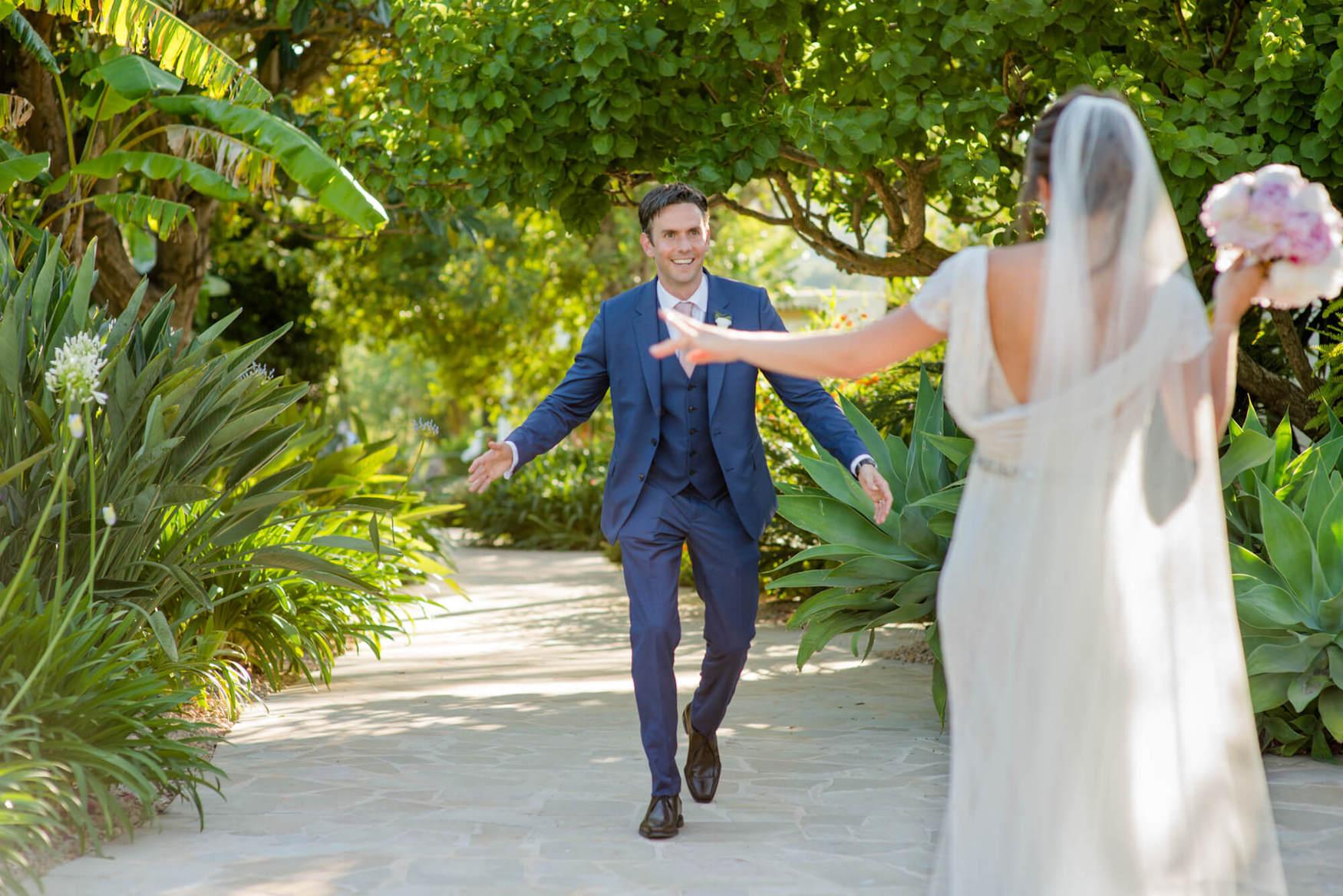 bride groom laughter lush green garden path dapled light eliza jane howell veil