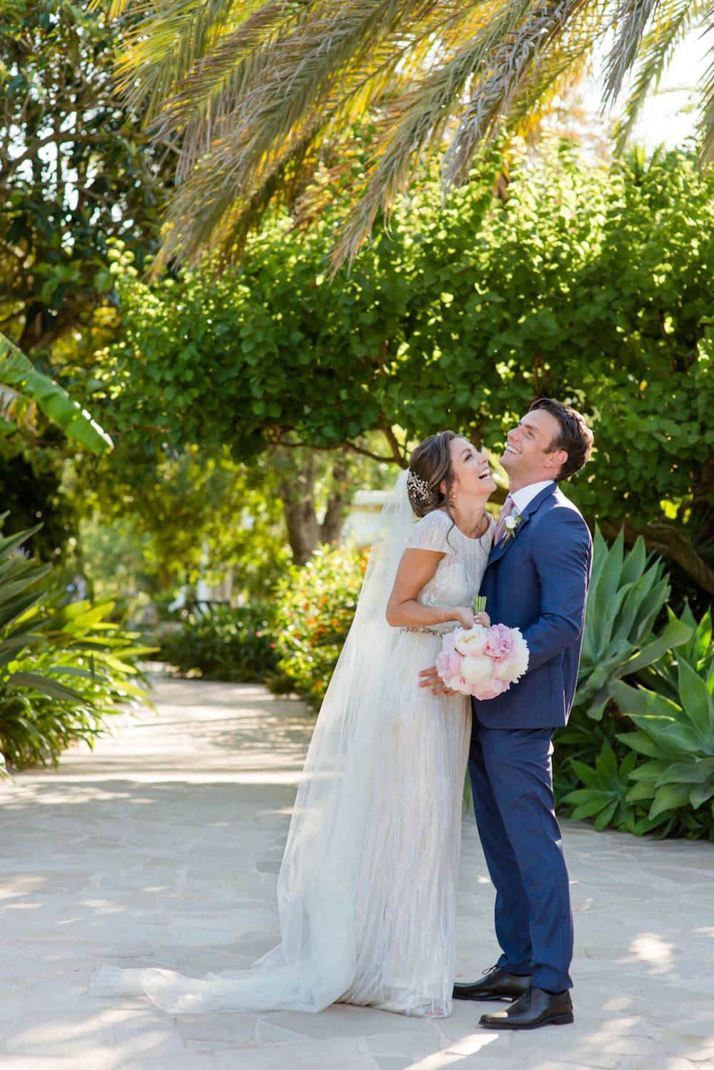 bride groom laughter lush green garden path dapled light eliza jane howell veil