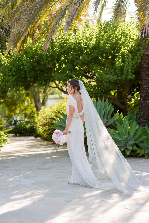 bride session lush green garden path dapled light eliza jaen howell veil
