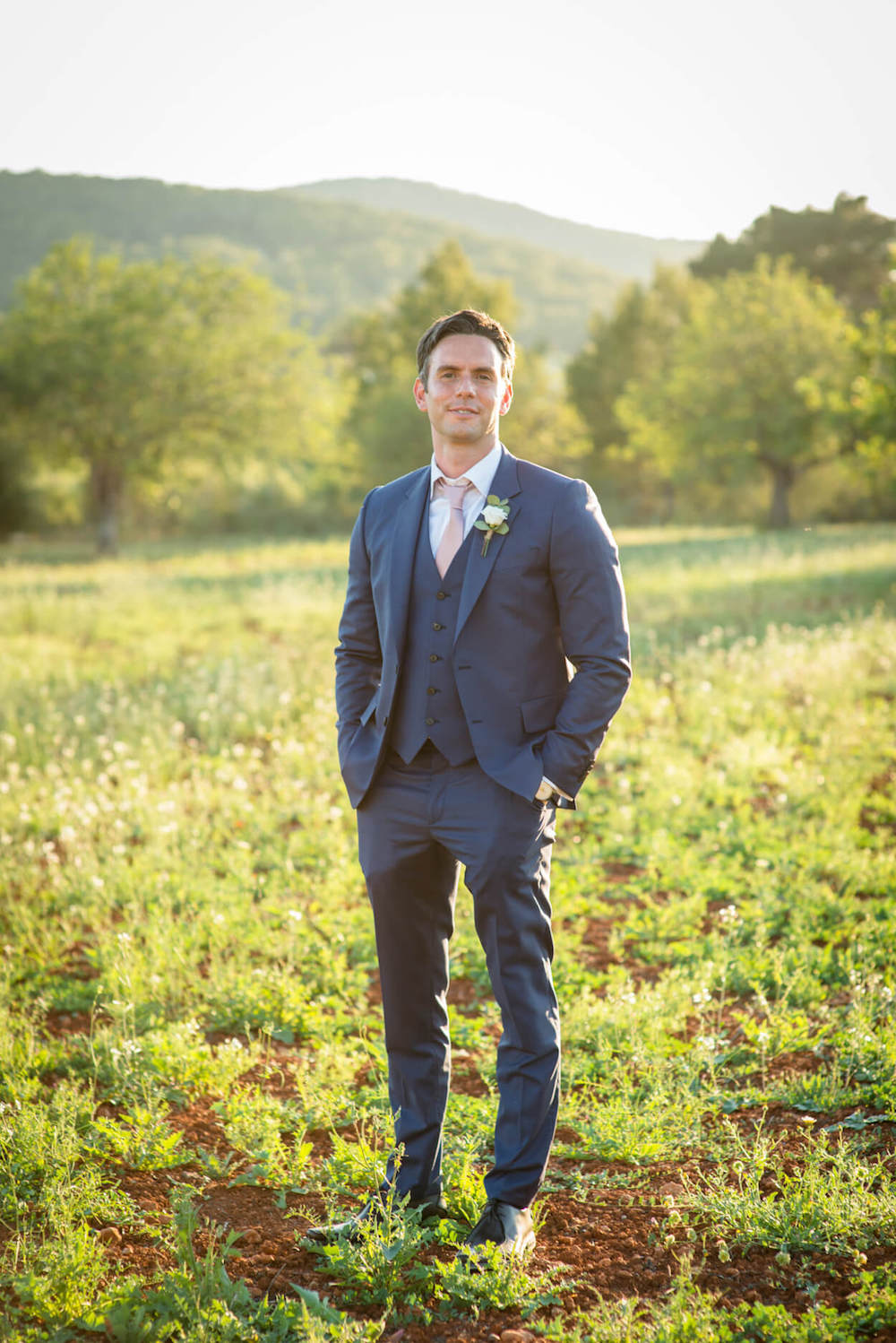 groom three piece suit paul smith country campo hills sunset light