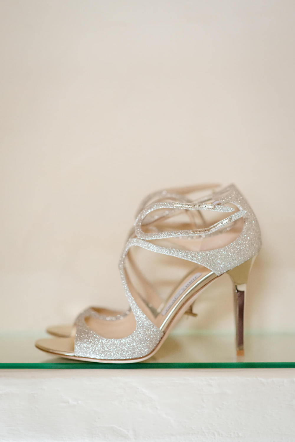 jimmy choo wedding high heals gold glitter