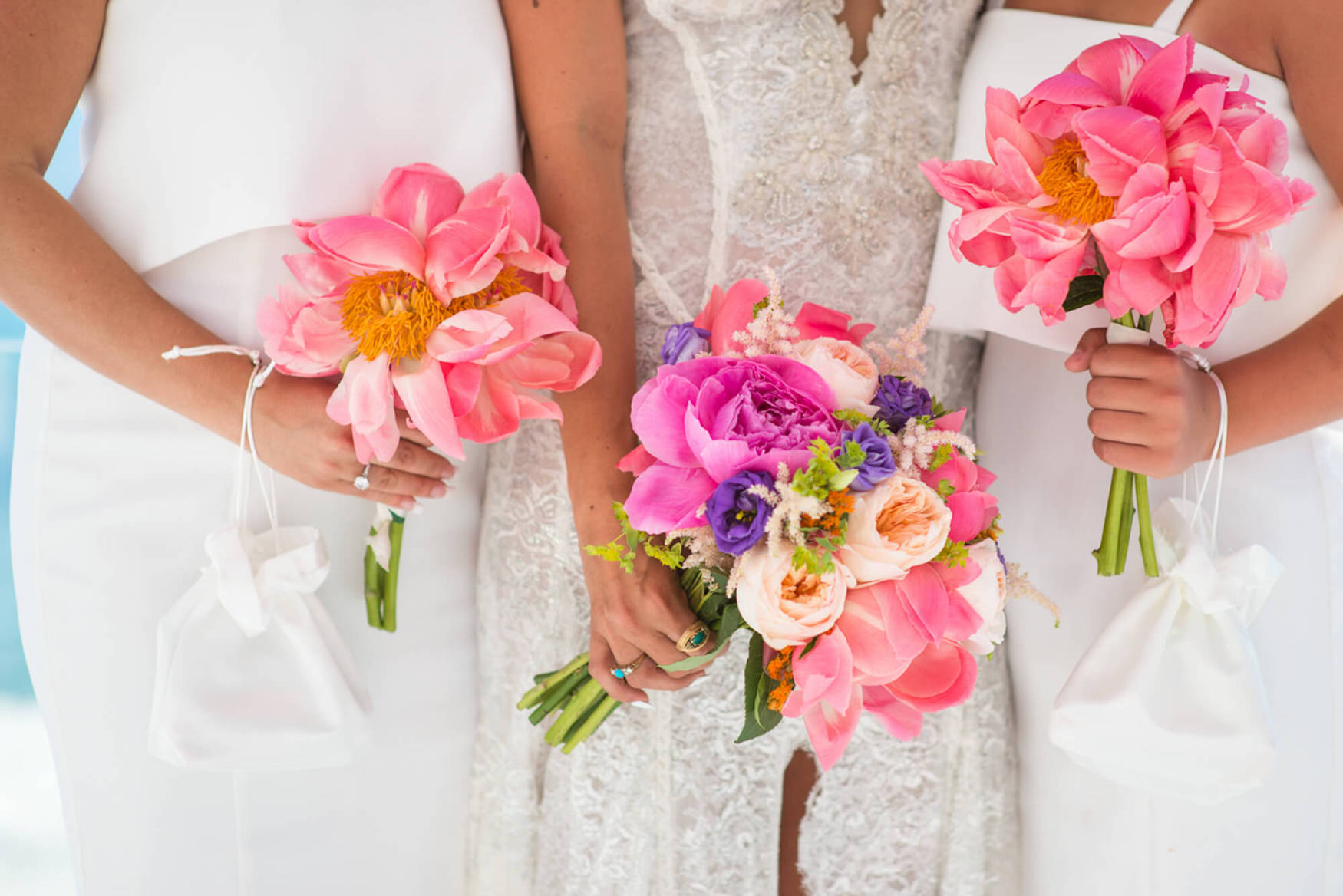 Colourful flowers wedding bouquet bridesmaids beach venue sunset view Galia Lahav