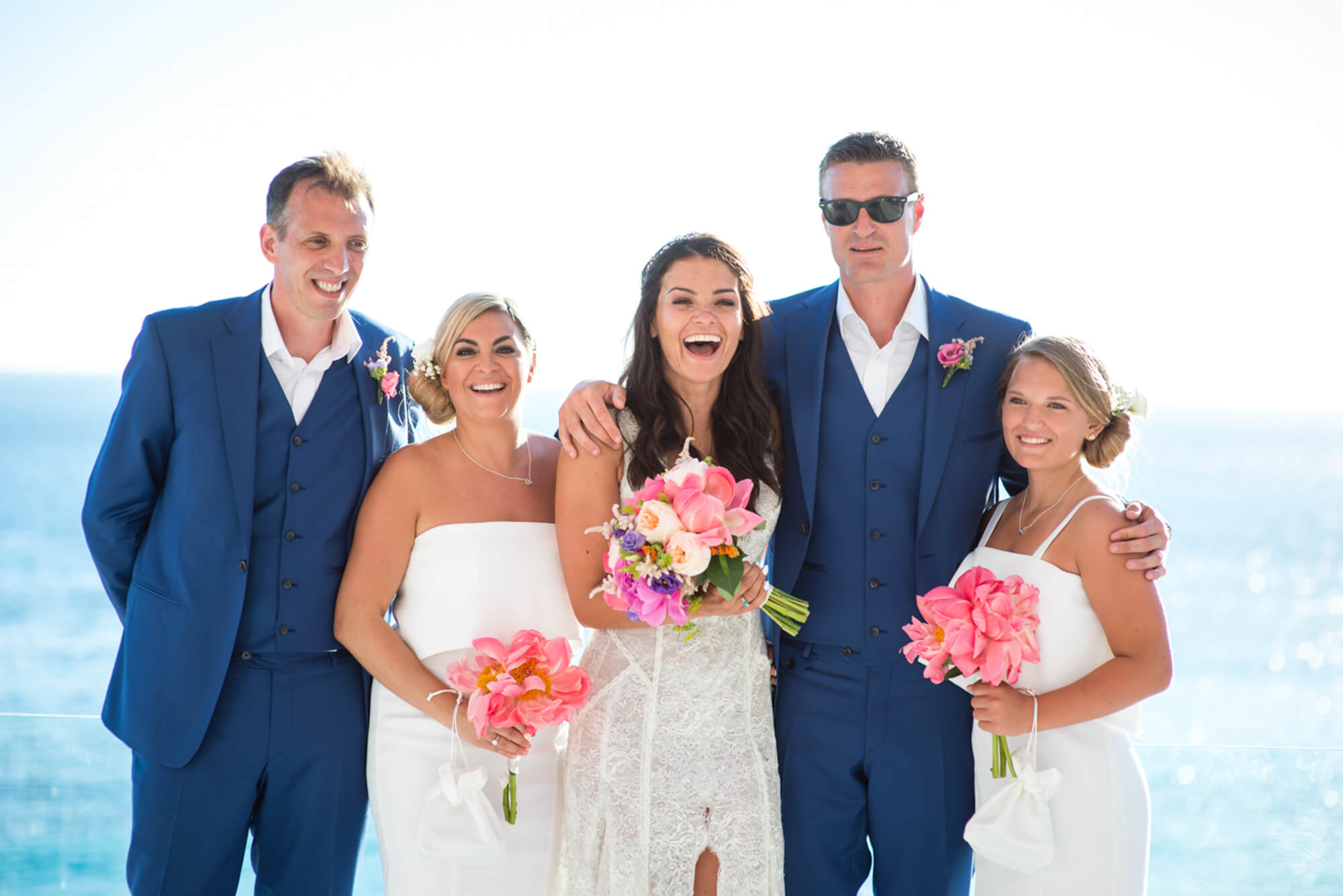 Colourful flowers wedding bouquet bride groom bridal party beach venue sunset view Galai Lahav