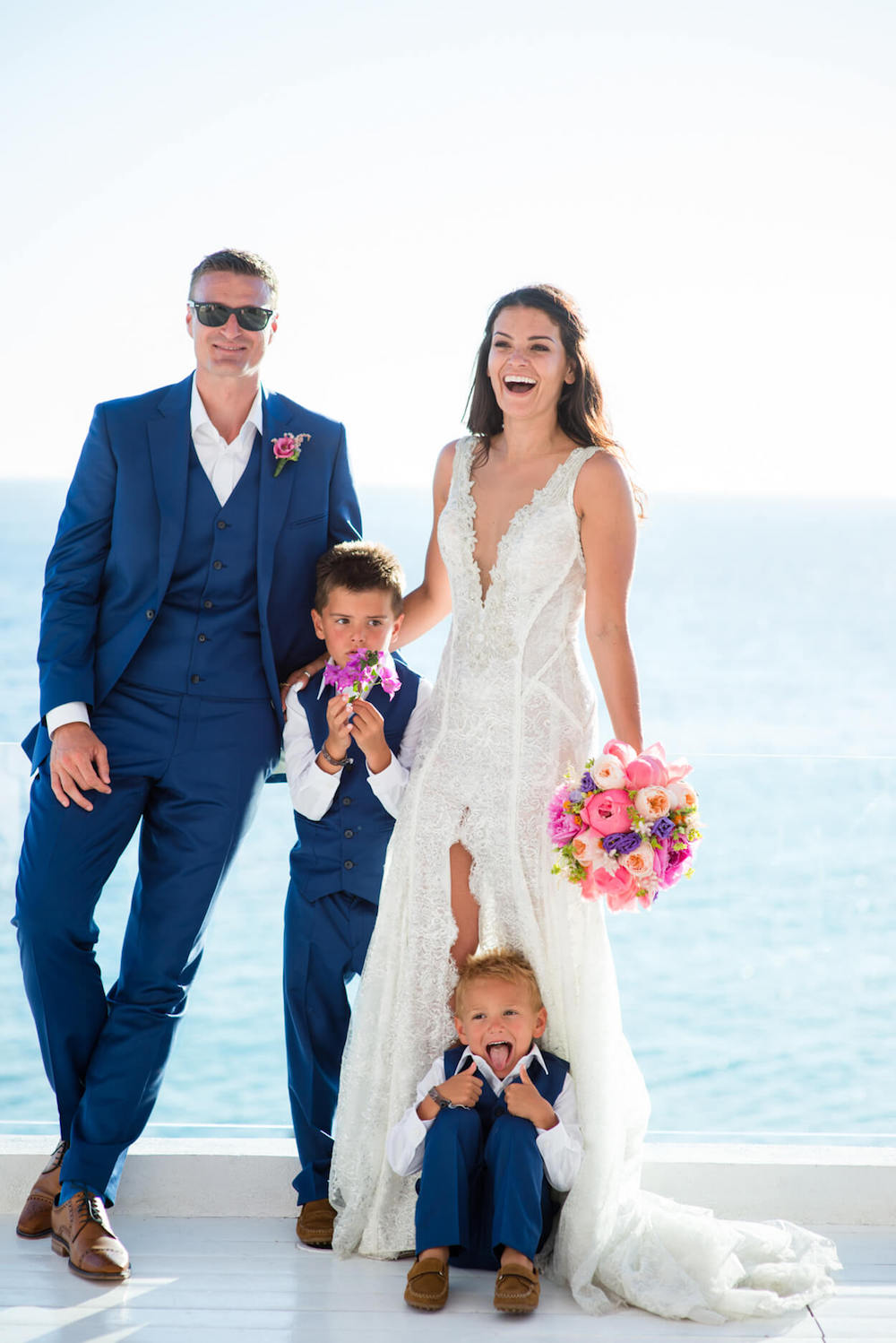 Colourful flowers wedding bouquet bride groom family kids beach venue sunset view Galia Lahav