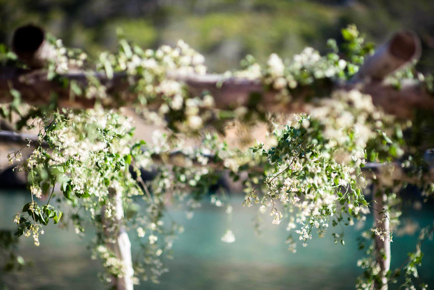 flower garland decorations benirras beach shack wedding
