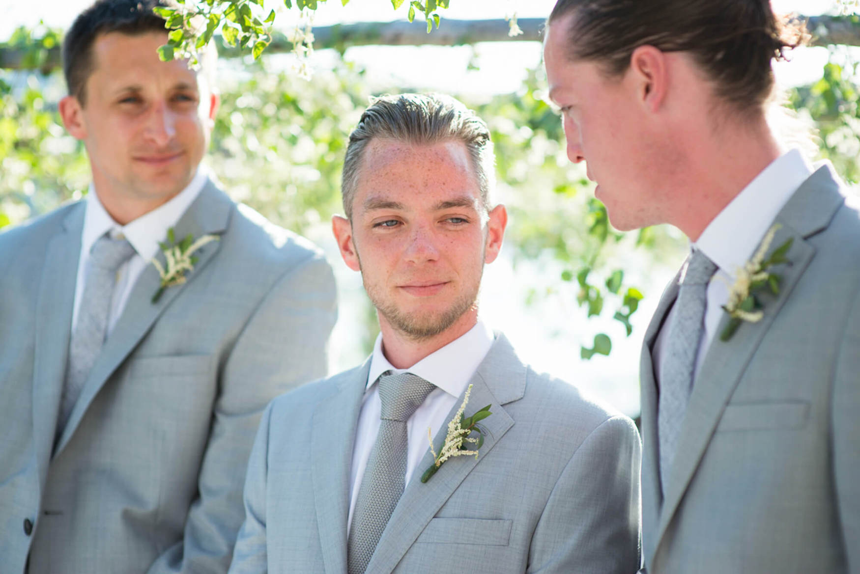 groom waiting beach wedding seaside happy laughter elements benirras amanda wakeley