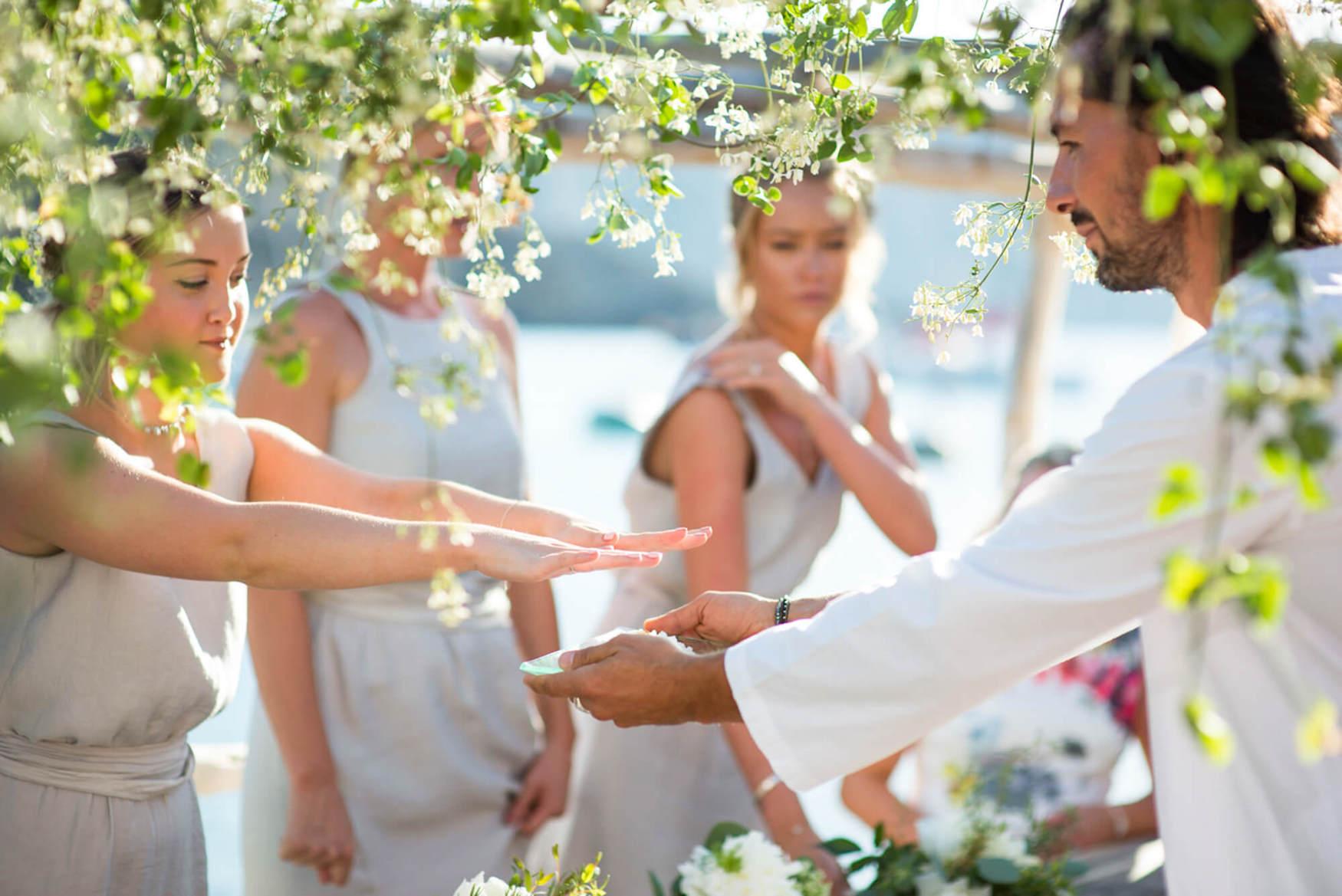 bride groom ring ceremony beach wedding seaside happy laughter elements benirras amanda wakeley