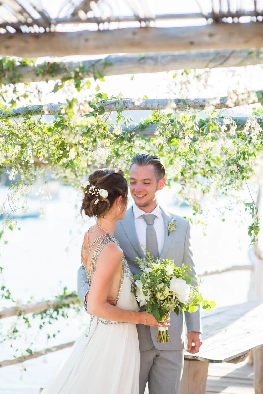 bride groom beach wedding seaside happy laughter elements benirras amanda wakeley