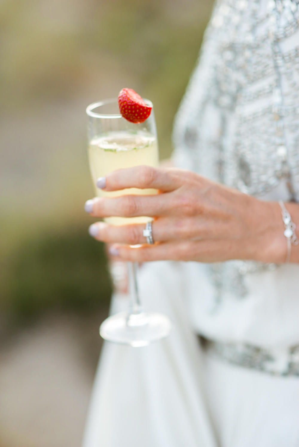 engagement ring champagne strawberry coktail hour