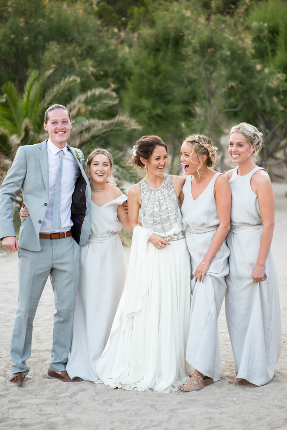 sisters beach wedding feet sand happy laughter elements benirras amanda wakeley