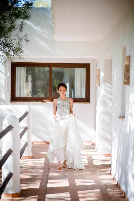 bride dress silk amanda wakeley getting ready walk beach ceremony boat shack