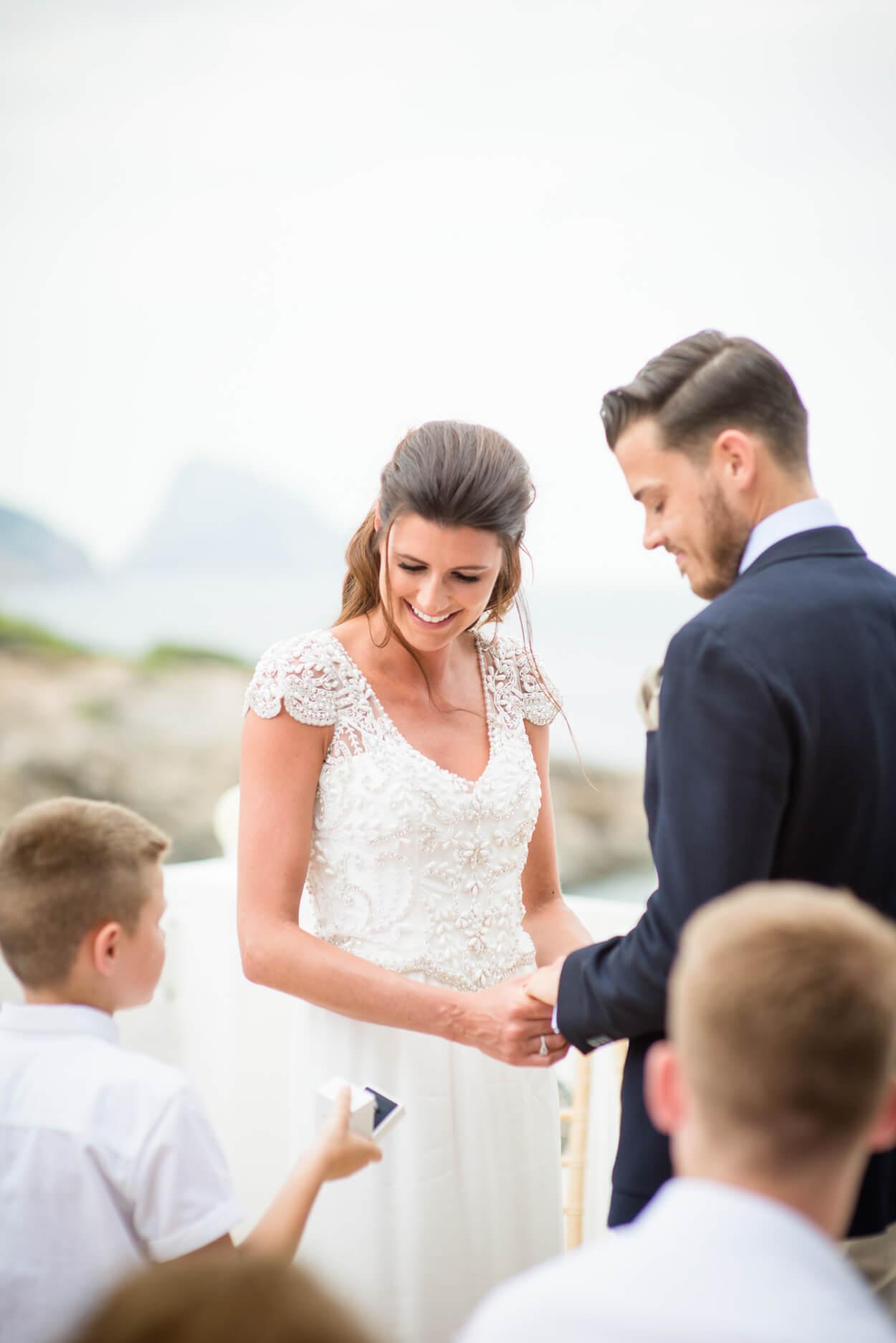 brde groom ceremony kiss ring bearer