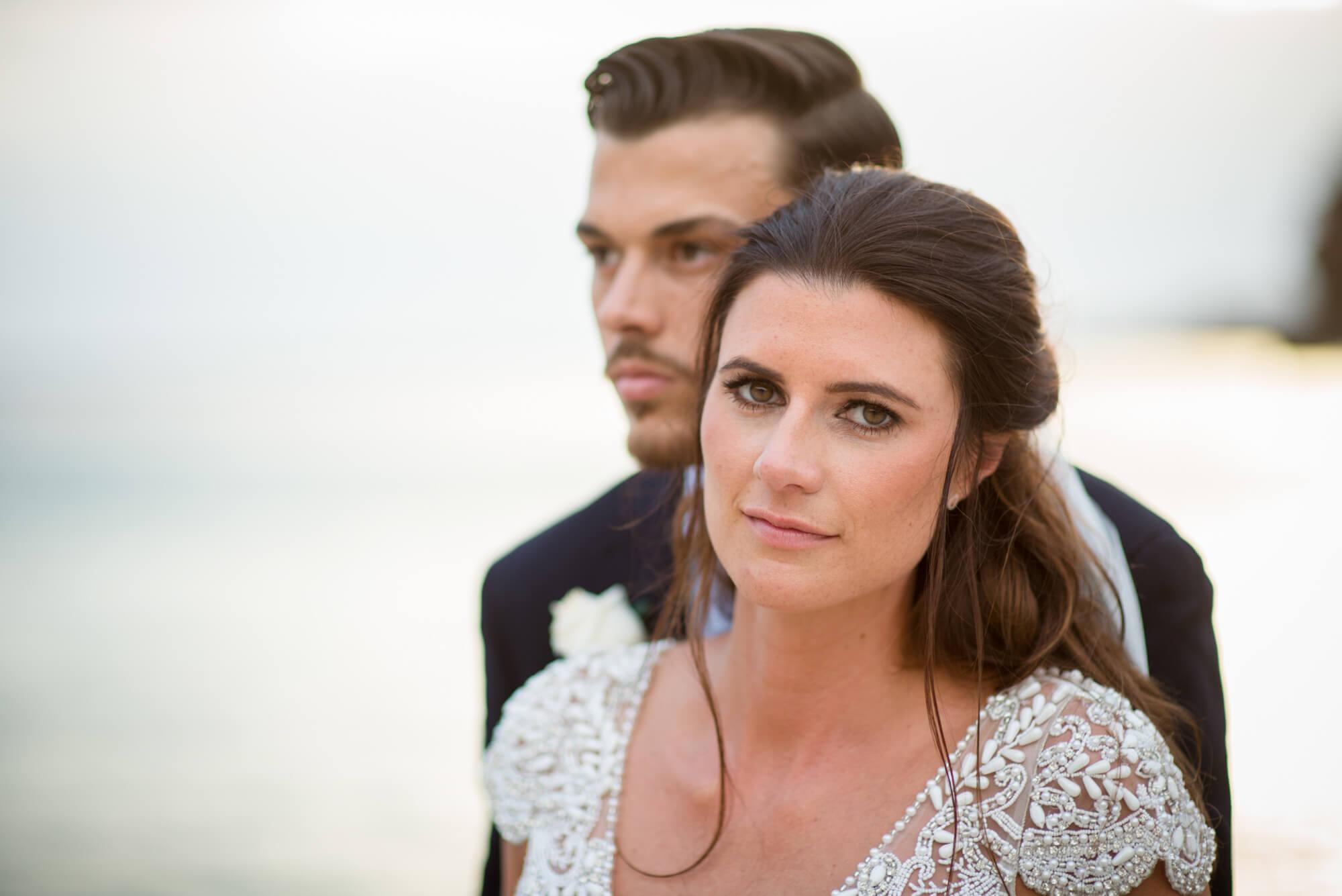 bride groom couple portrait sunset beach sea view venue