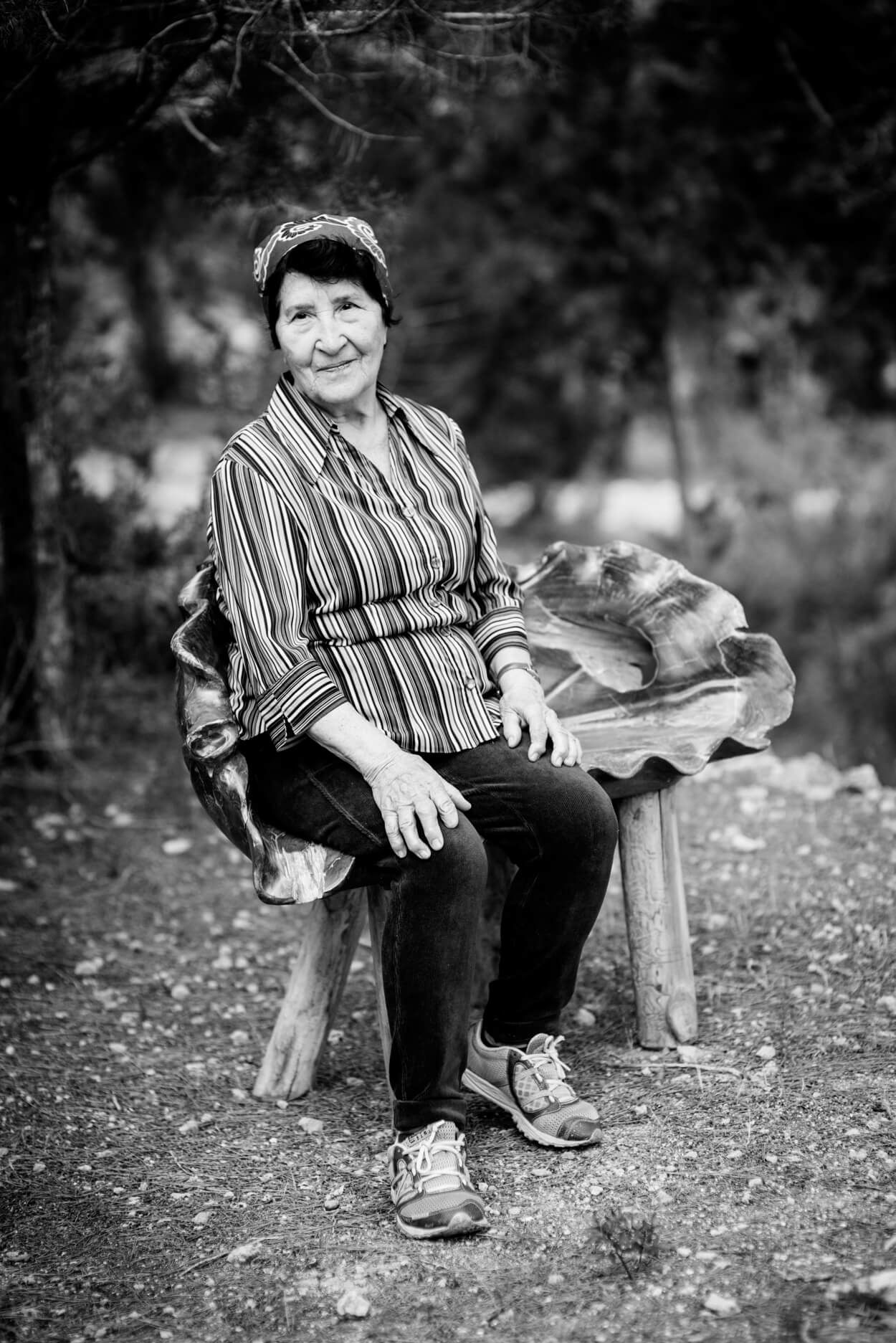 grandmother woman portrait in garden home