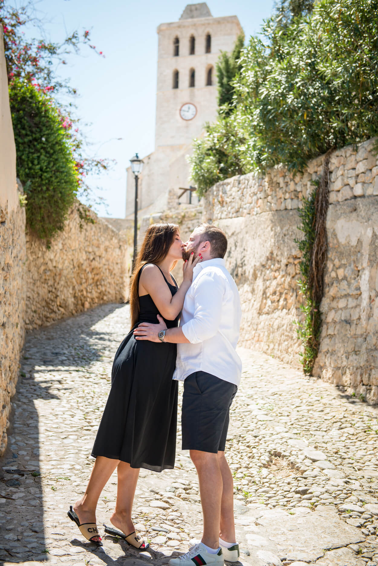 couple just engaged portrait dalt villa ibiza cathedral old town