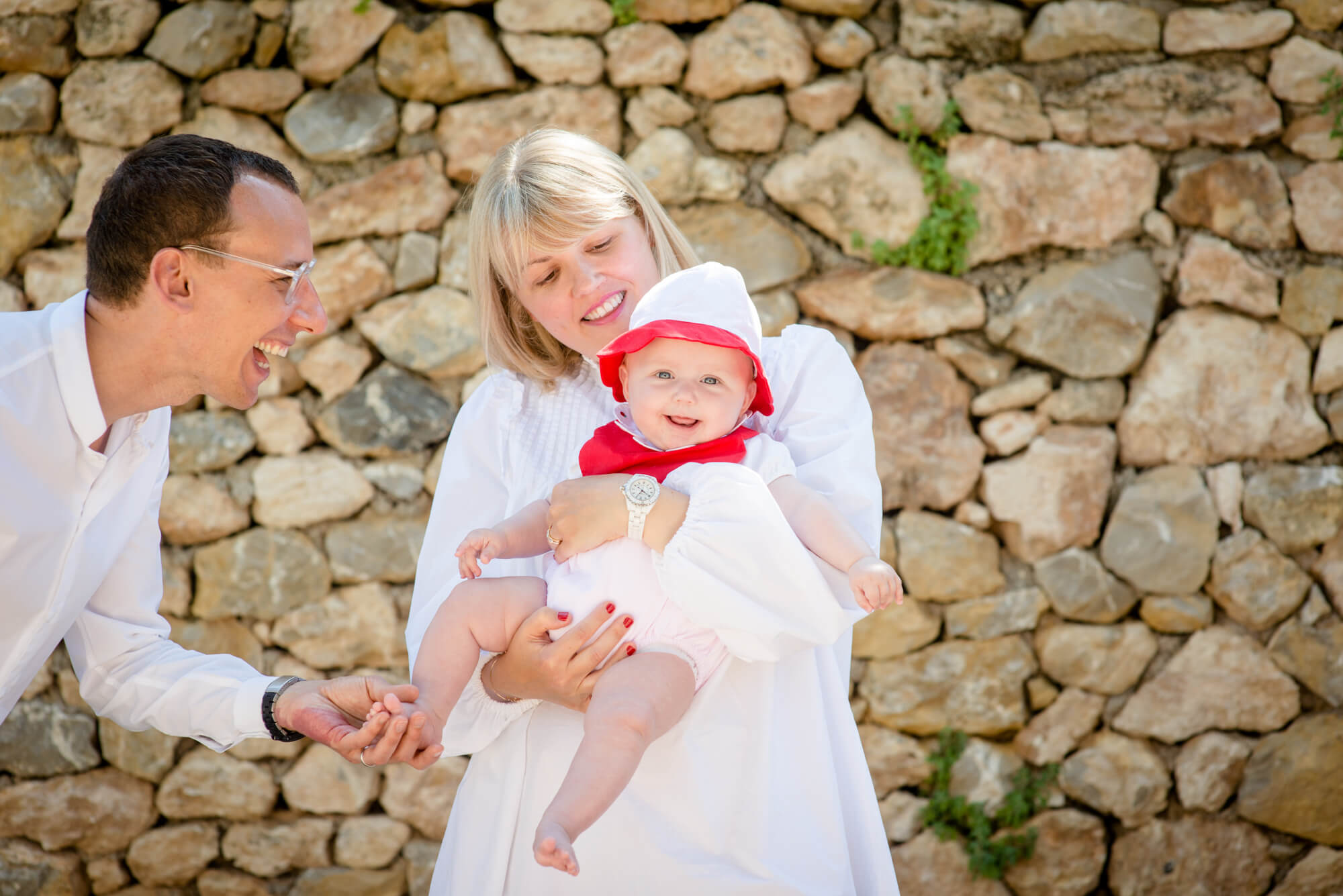 smiling baby portrait holiday mother father family