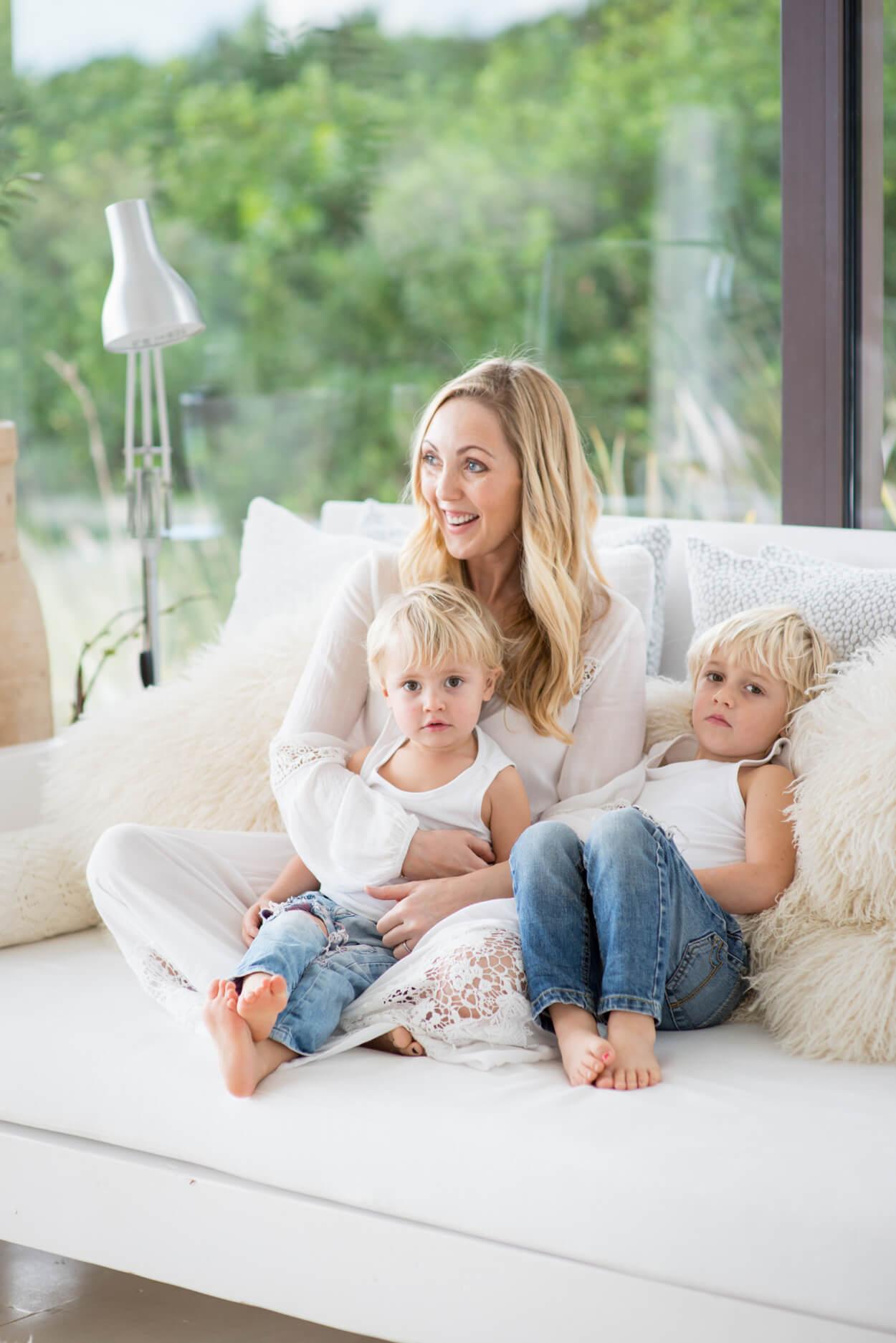gemma bowman mother son portrait at home