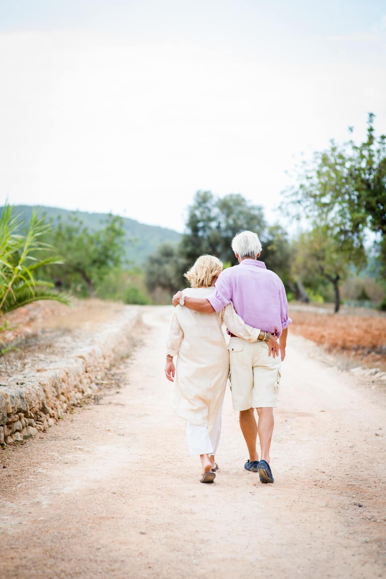 couple portrait 50th wedding anniversary countryside path walk