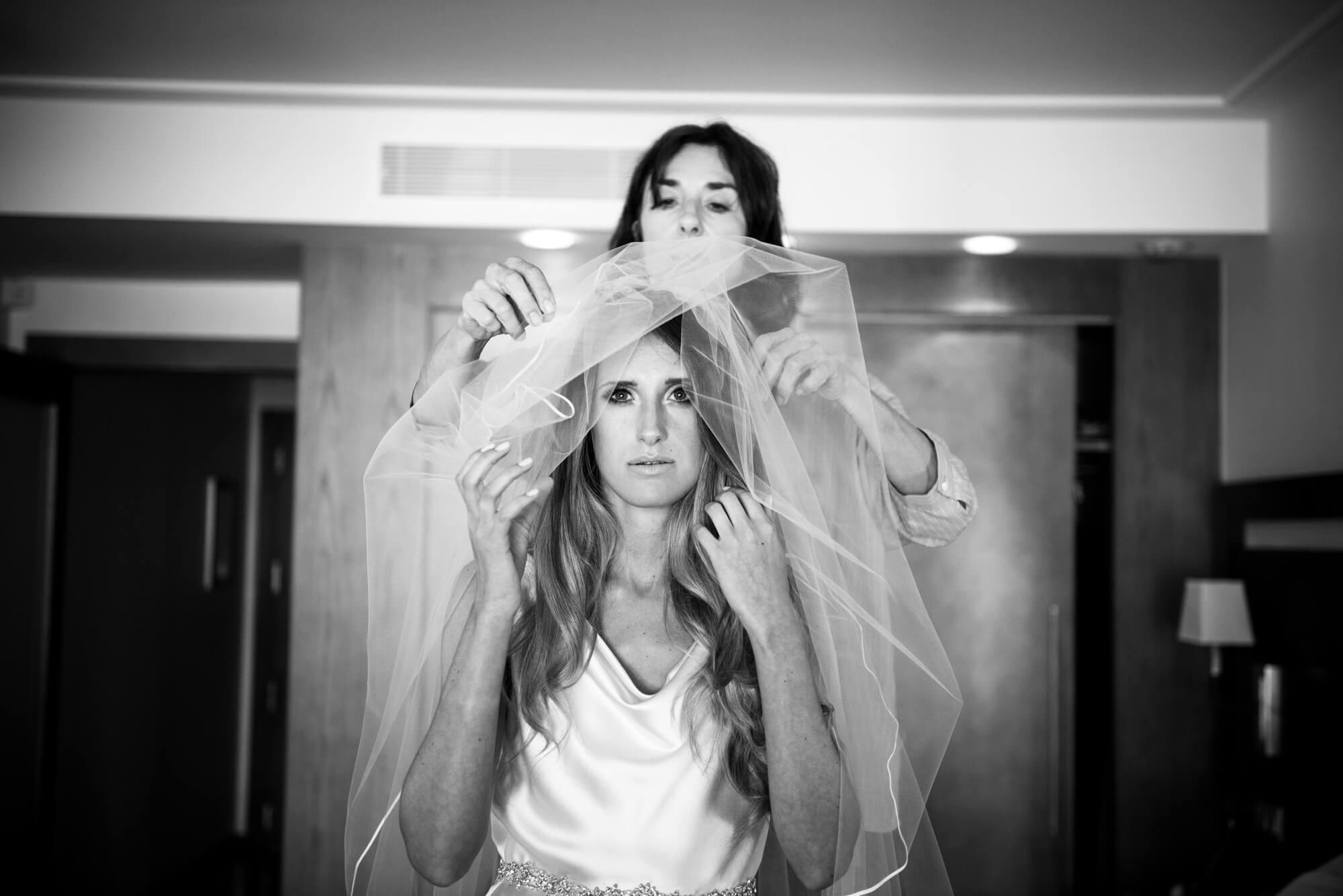 bride getting ready veil