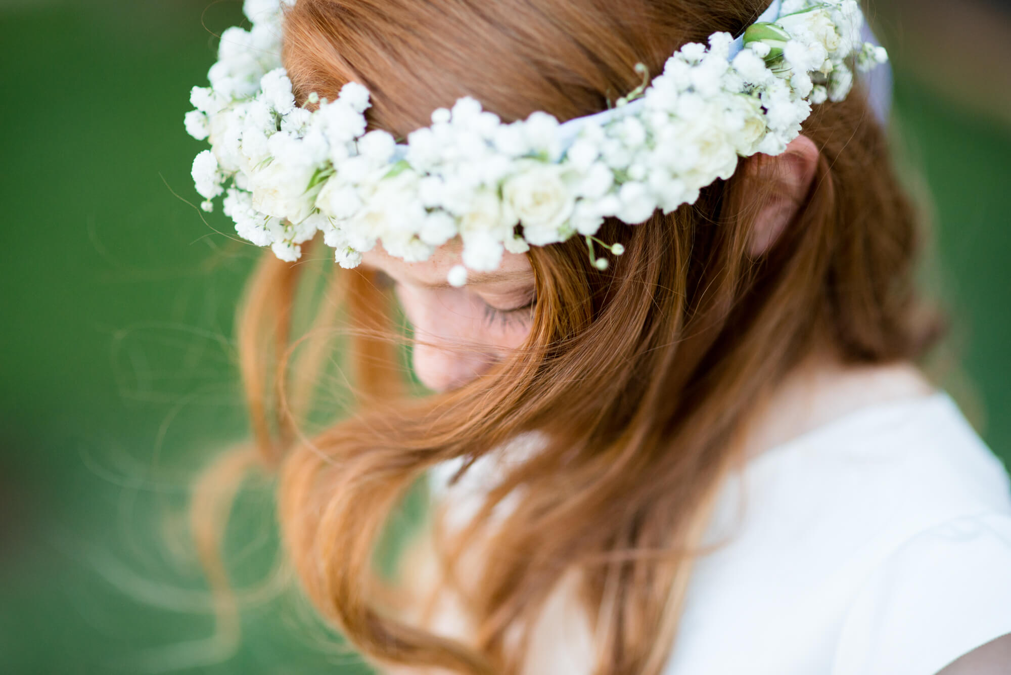flower girl flower crown red hair