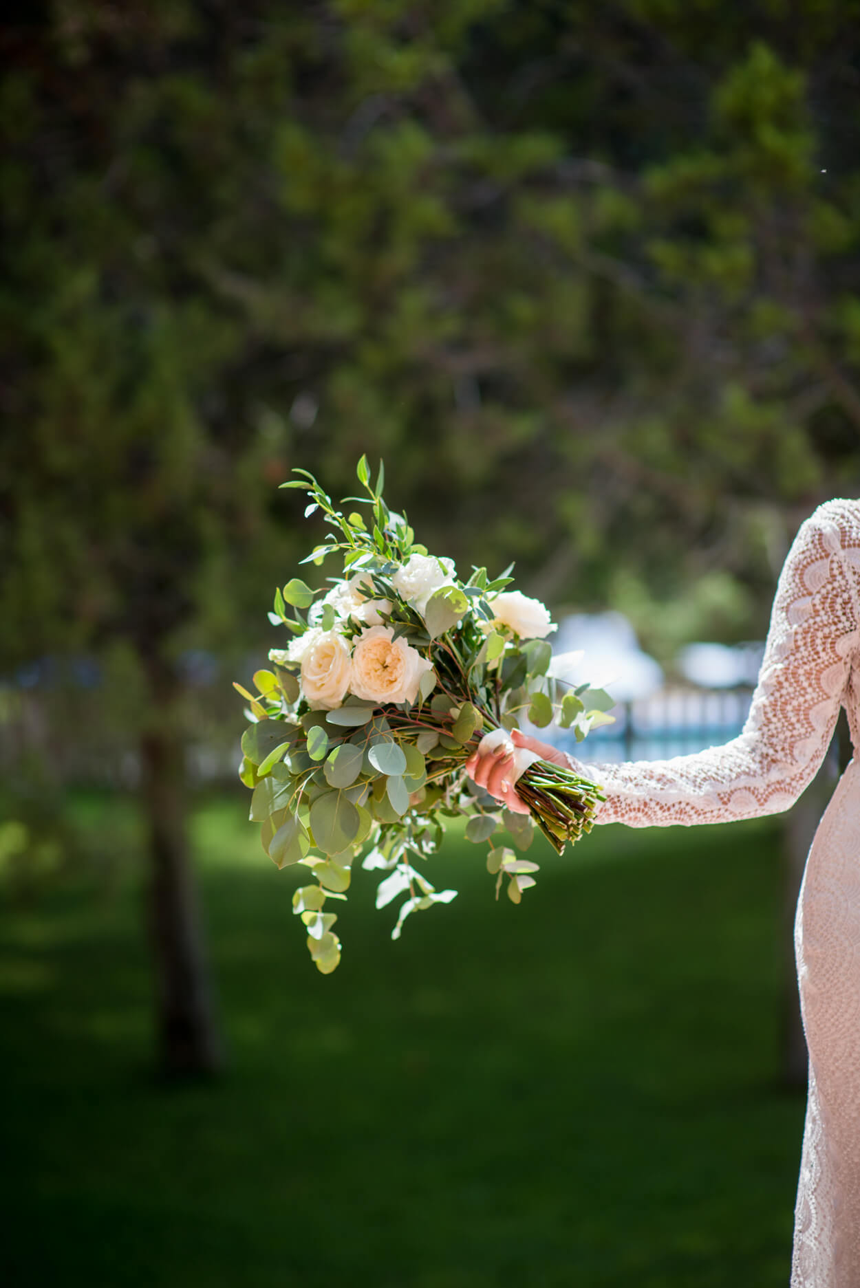 wedding flowers white roses bride portrait