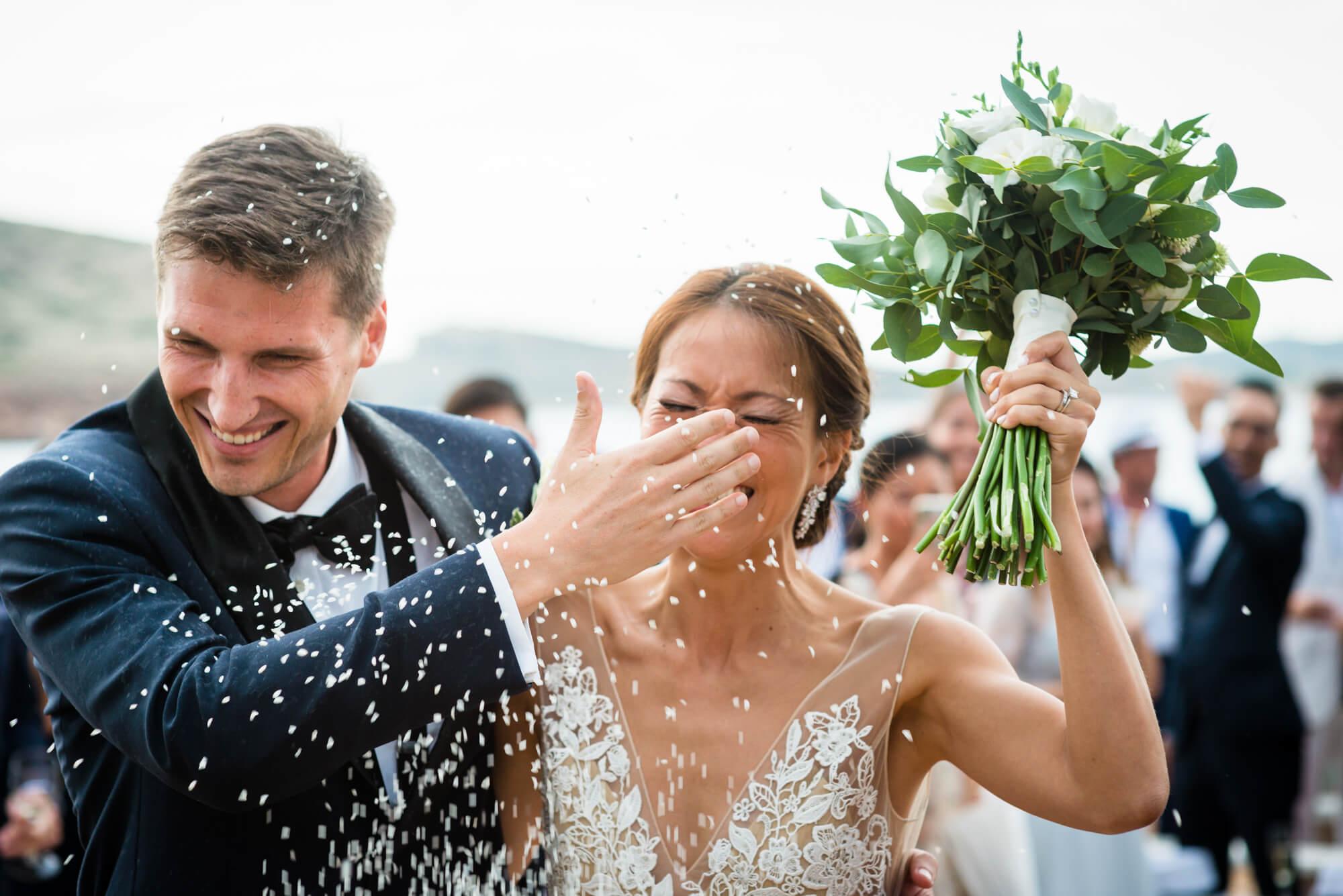 bride groom exit rice confetti moment