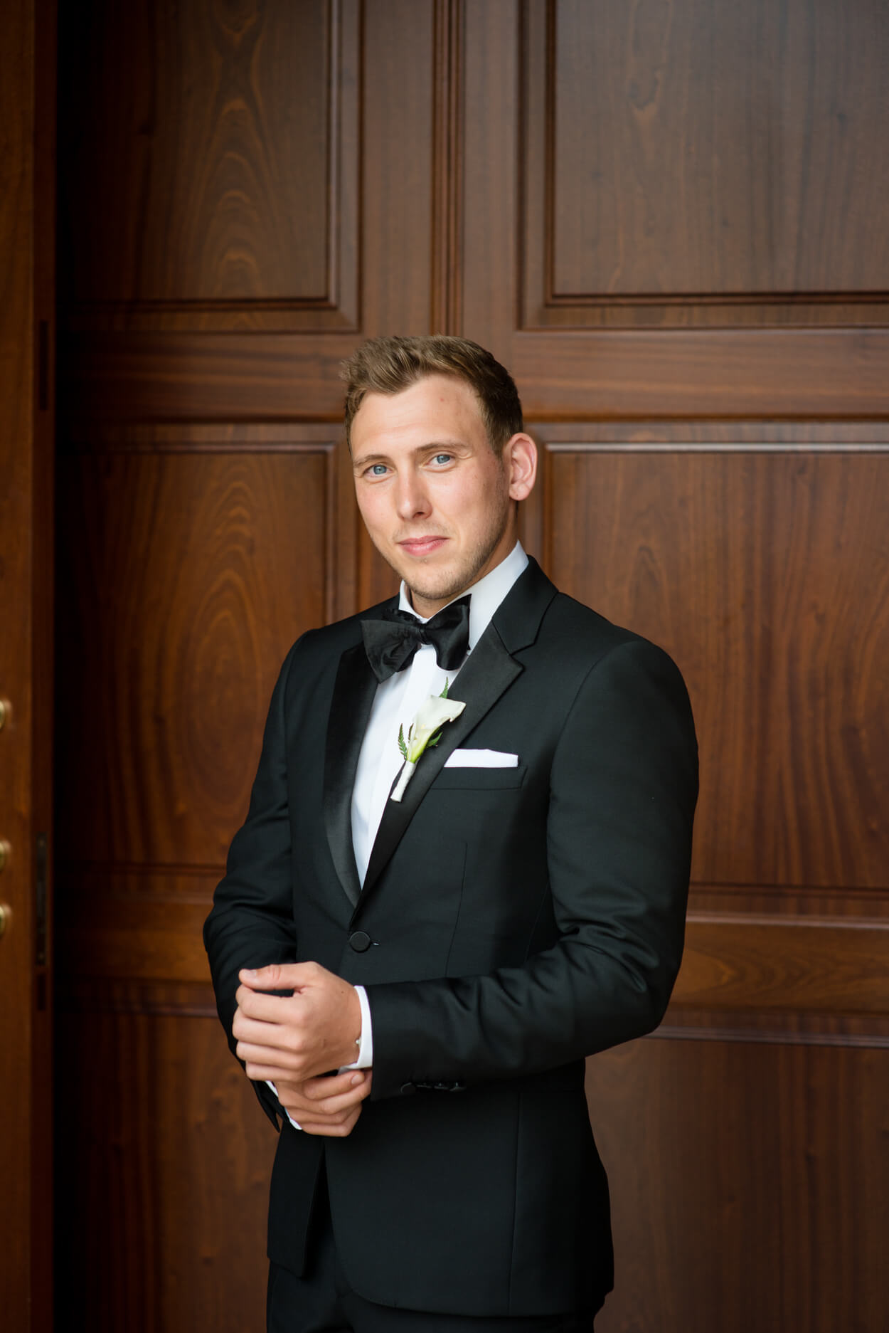 groom portrait black tie church wedding