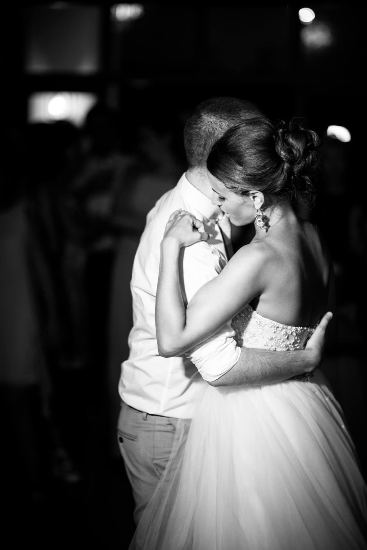bride groom first dance black white photo soft touch