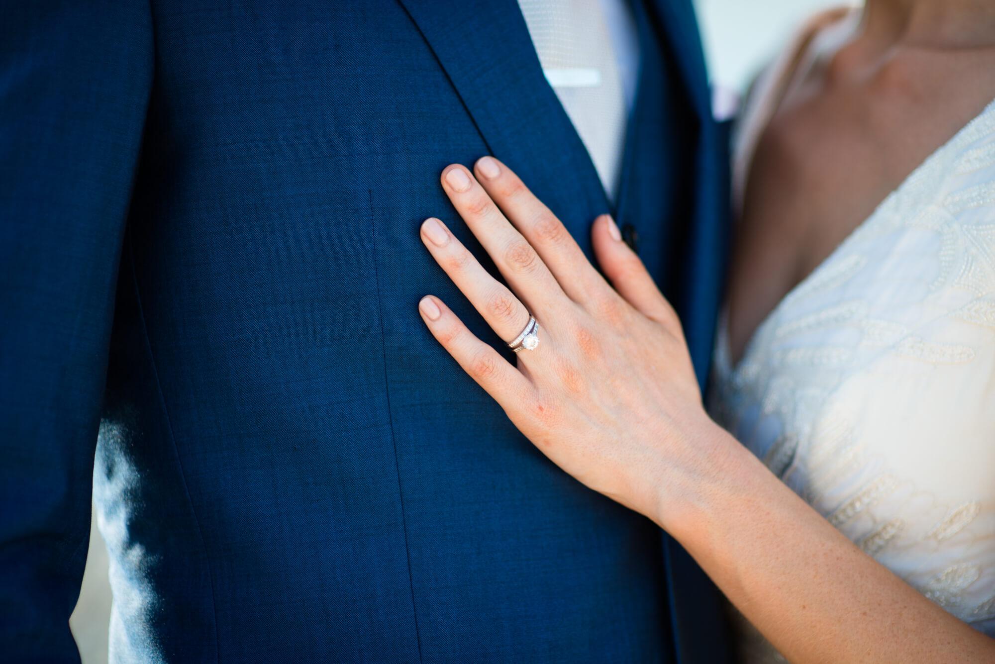 wedding diamond engagement ring hand detail