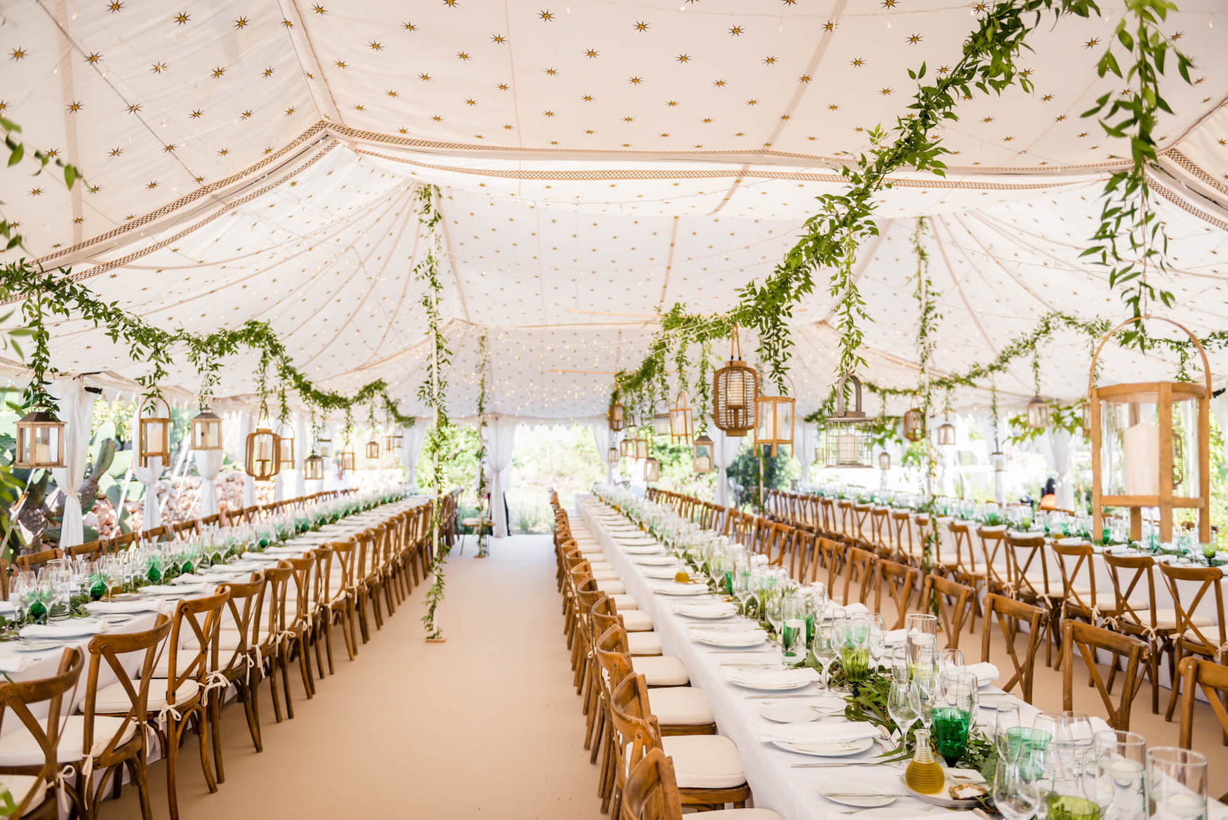 long tables latern leaf decorations marrocan wedding tent olive tree leaves