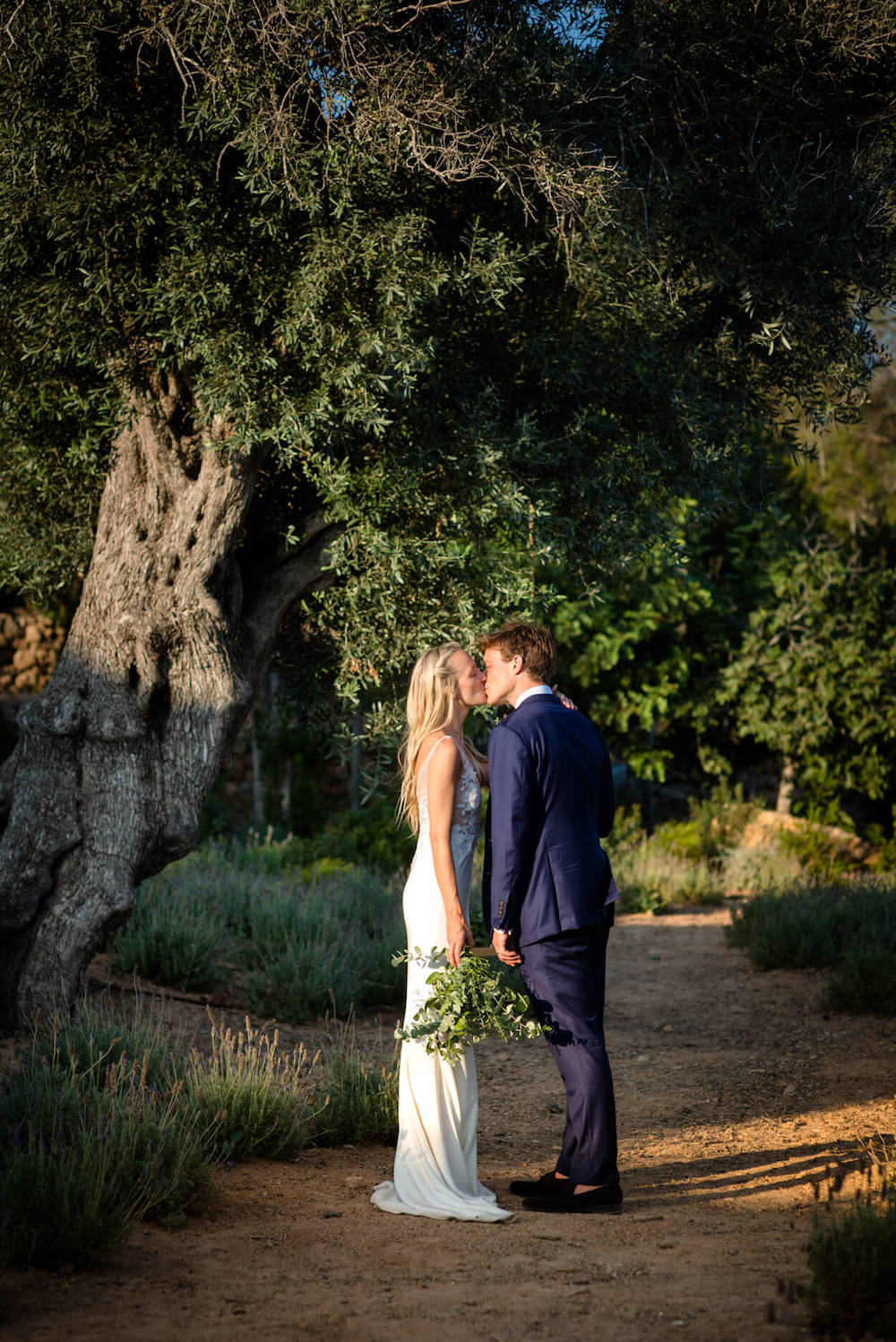 bride groom kiss olive tree country path sunset light
