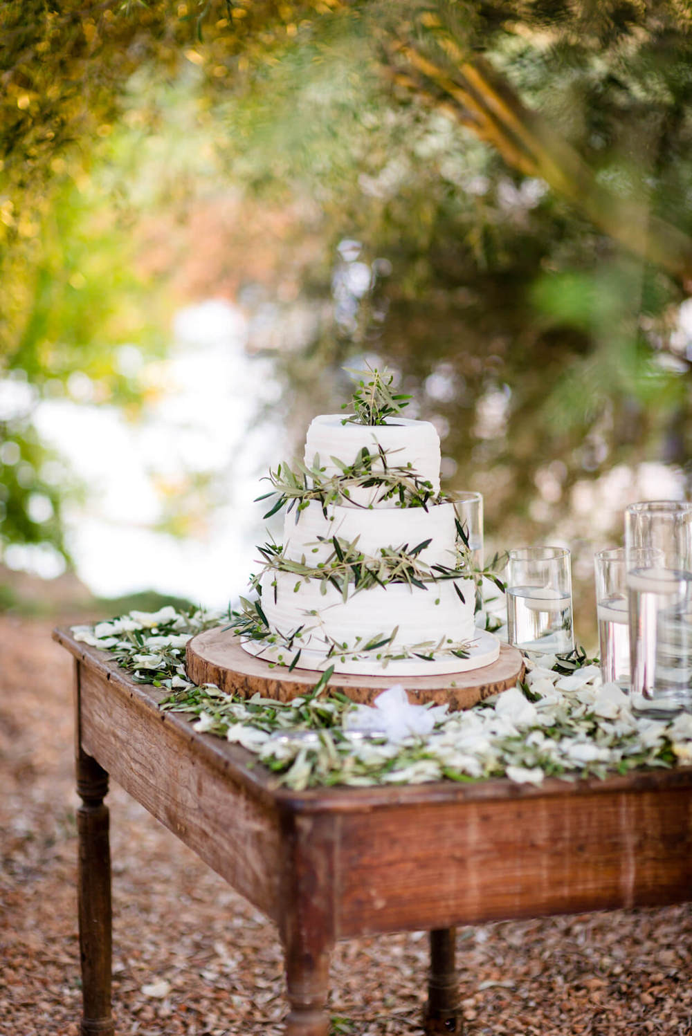 wedding cake olive tree leaves outdoor rustic table