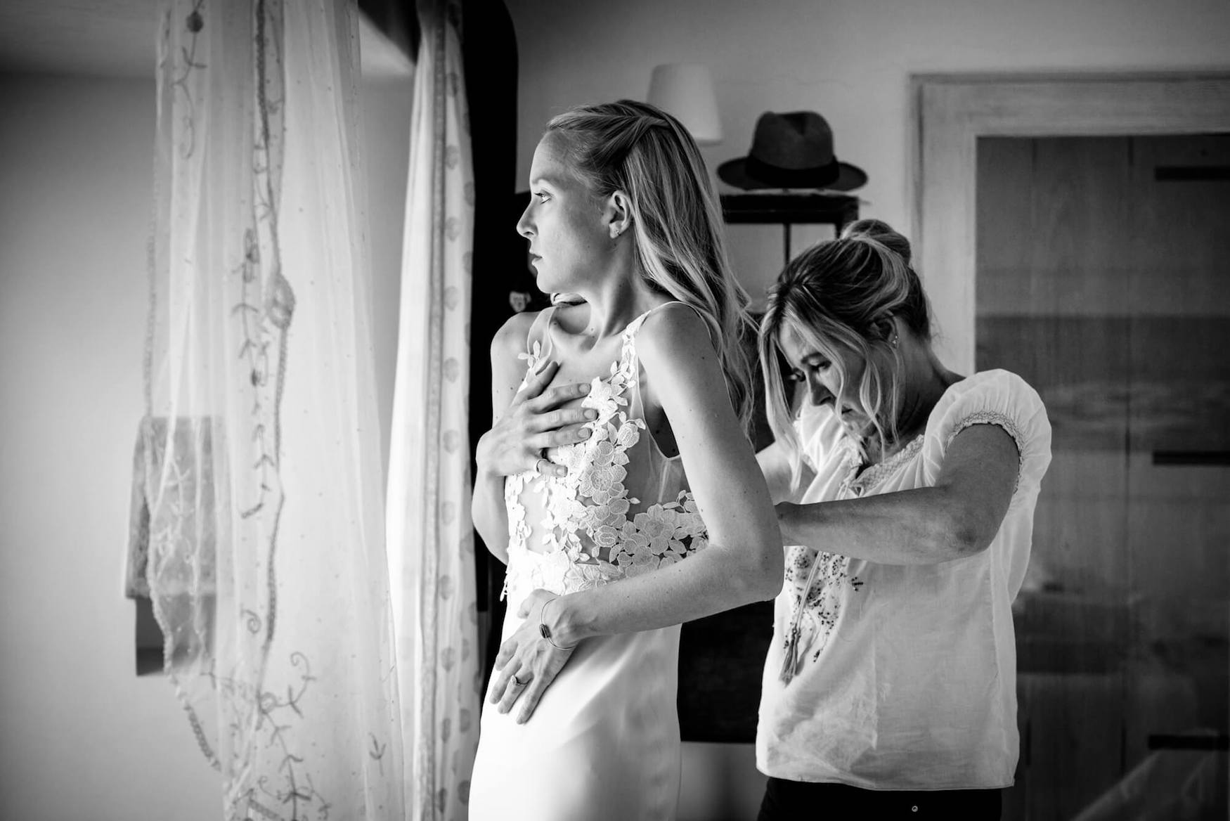 bride getting ready wedding dress mother of bride