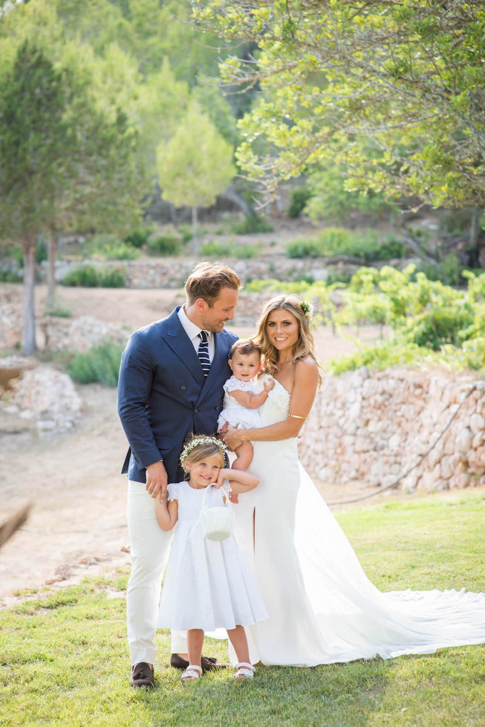 family baby bride groom portrait pronovia garden wedding zoe hardman hello magazine