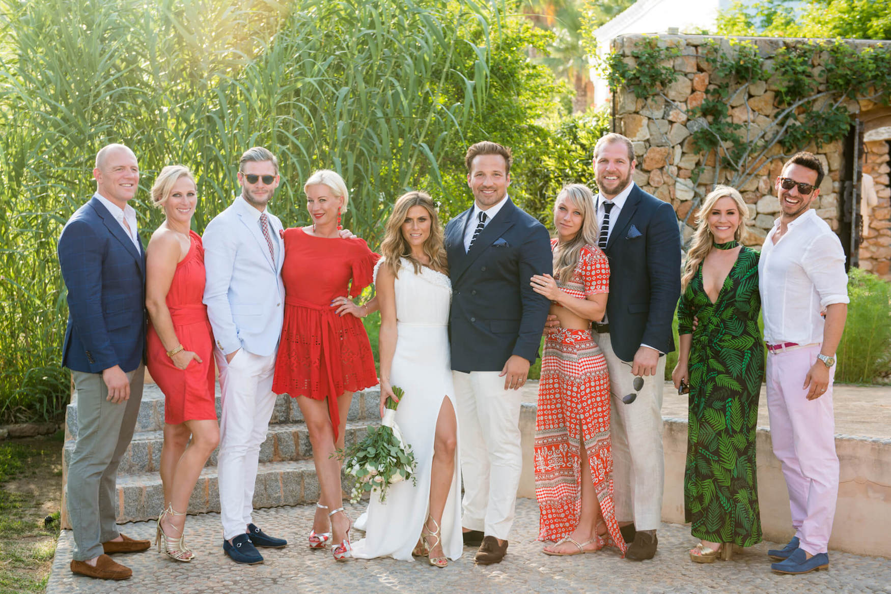 bridal party hello magazine zoe hardman paul Doran-Jones princess zara garden group photo