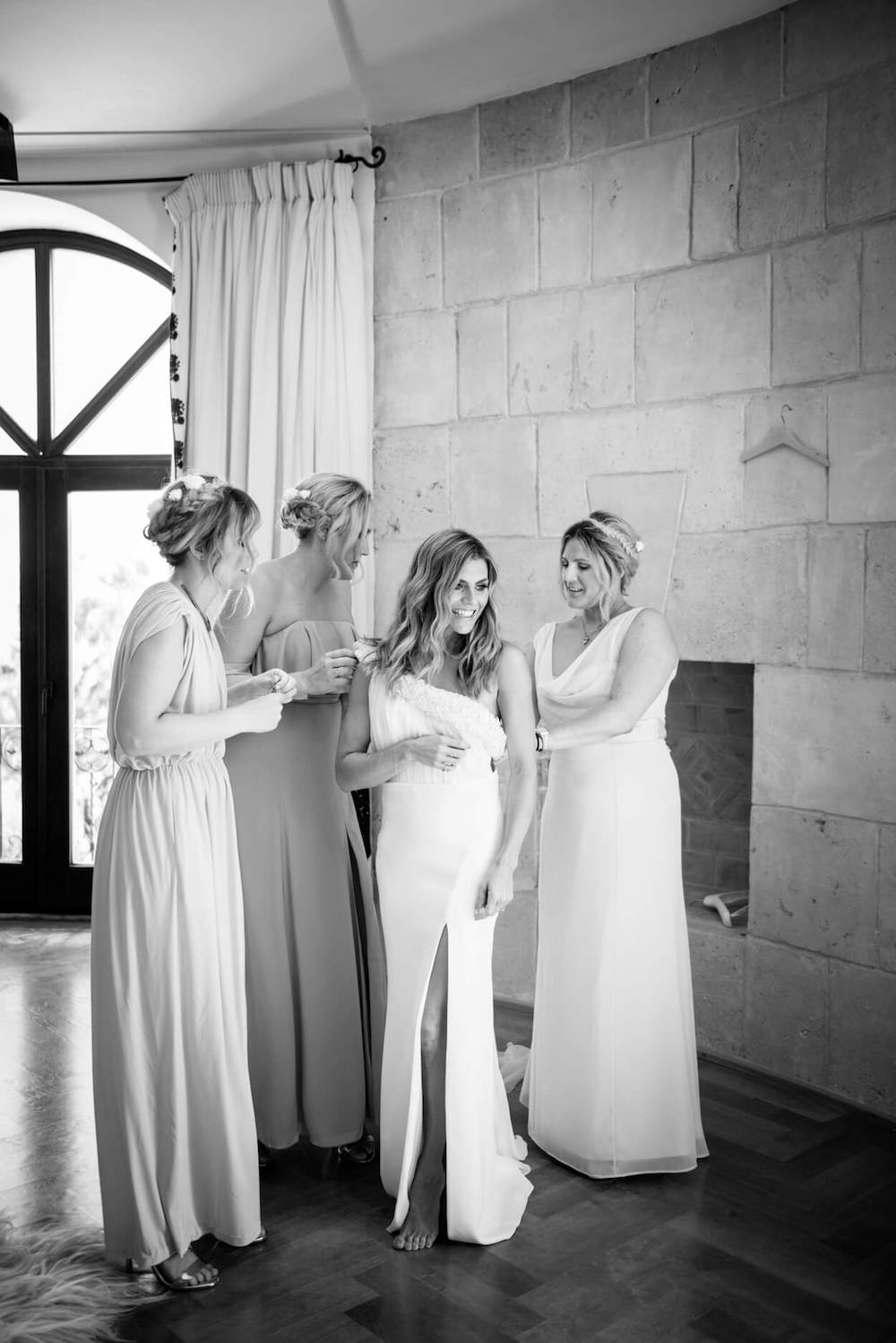 getting ready Zoe hardman bridesmaids pronovia dress hello magazine